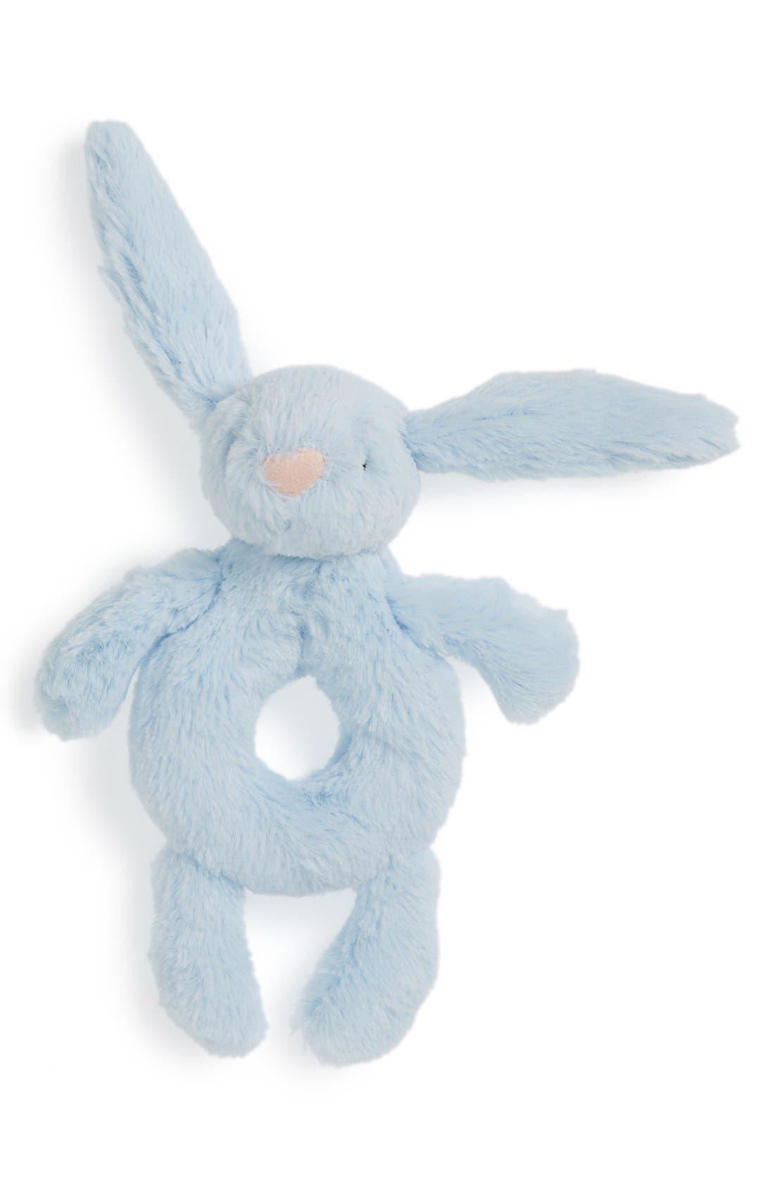 'Bashful Bunny' Grabber Rattle,                         Main,                         color, BLUE