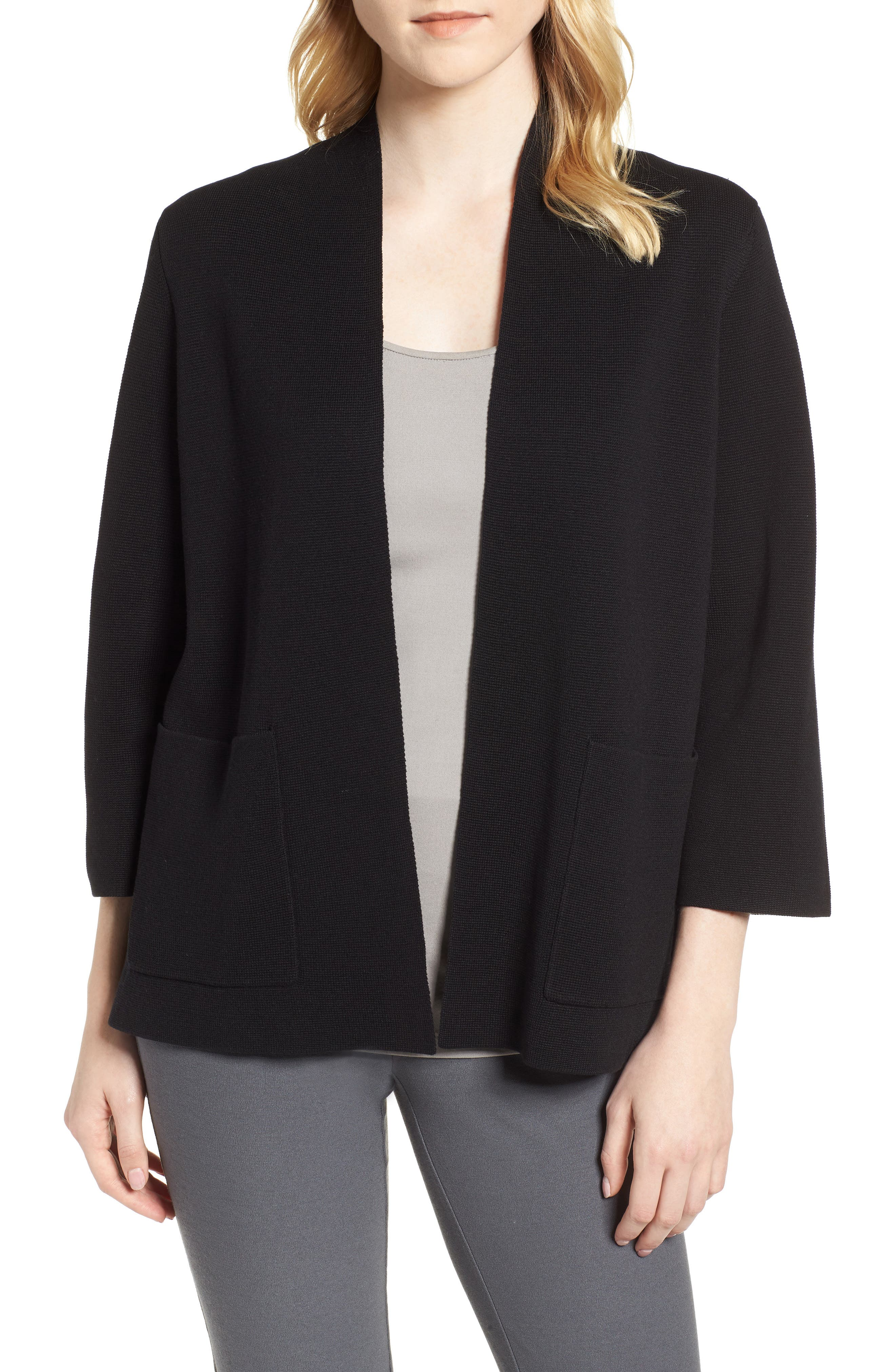 Stand Collar Silk & Organic Cotton Cardigan,                         Main,                         color, 001