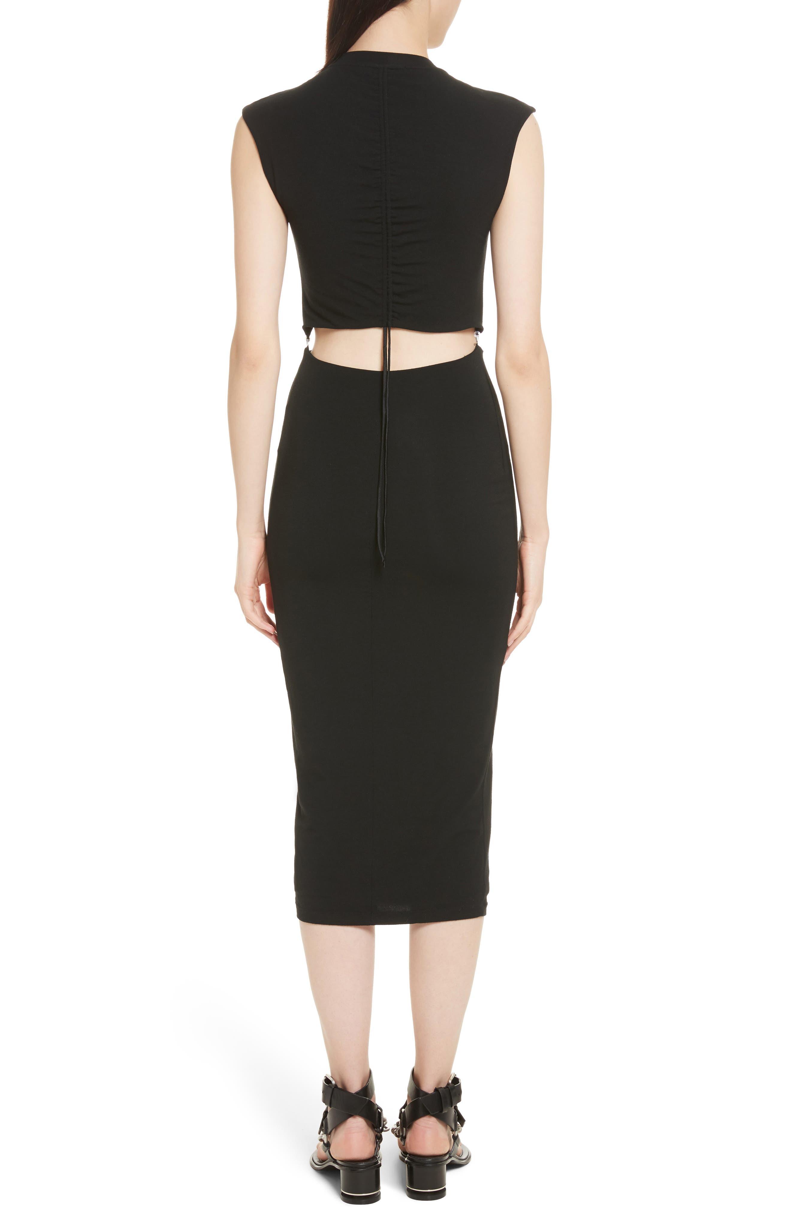 Cutout Stretch Jersey Dress,                             Alternate thumbnail 2, color,                             001