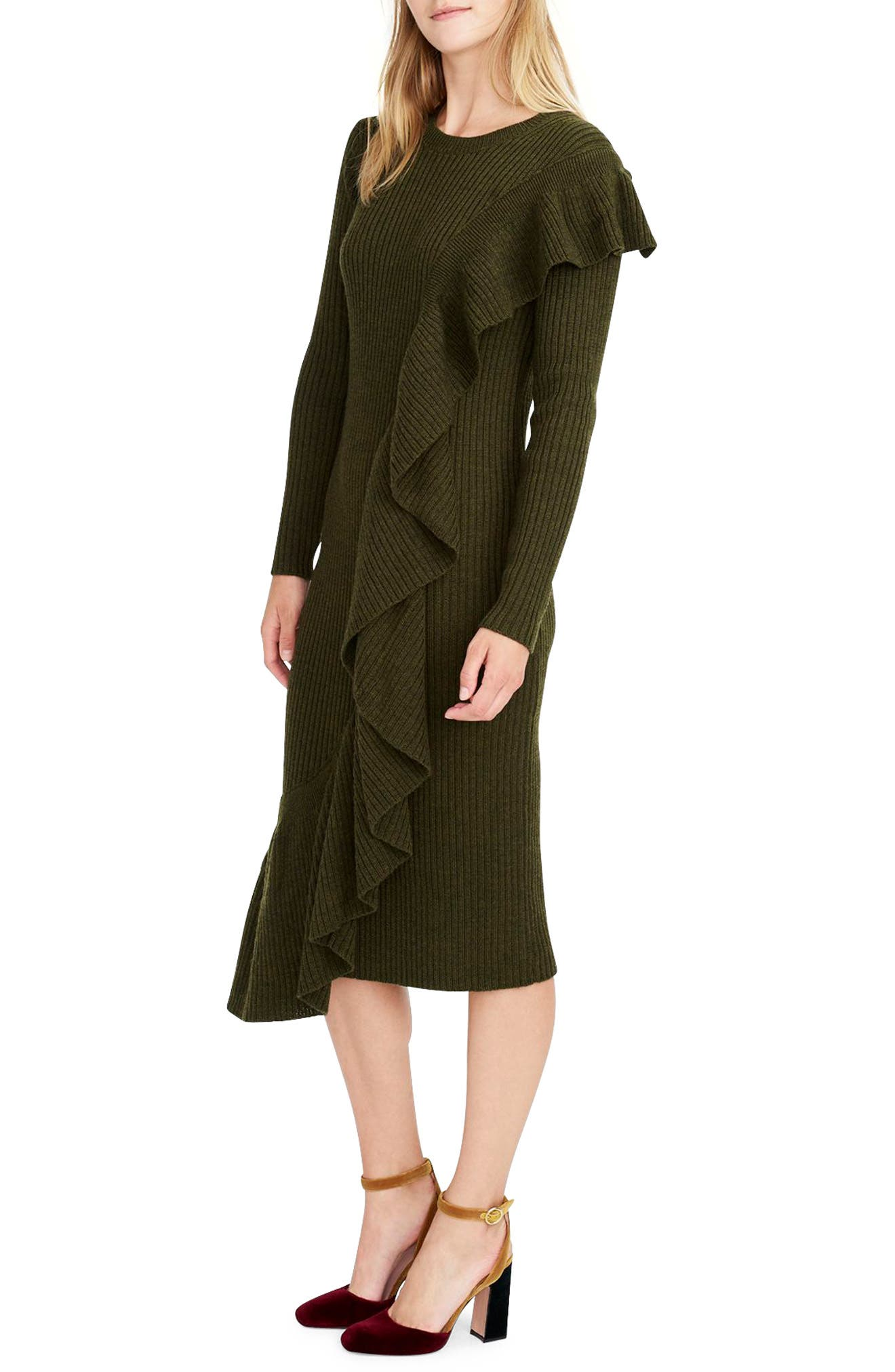 Collection Ruffle-Front Sweater Dress,                             Main thumbnail 1, color,                             300