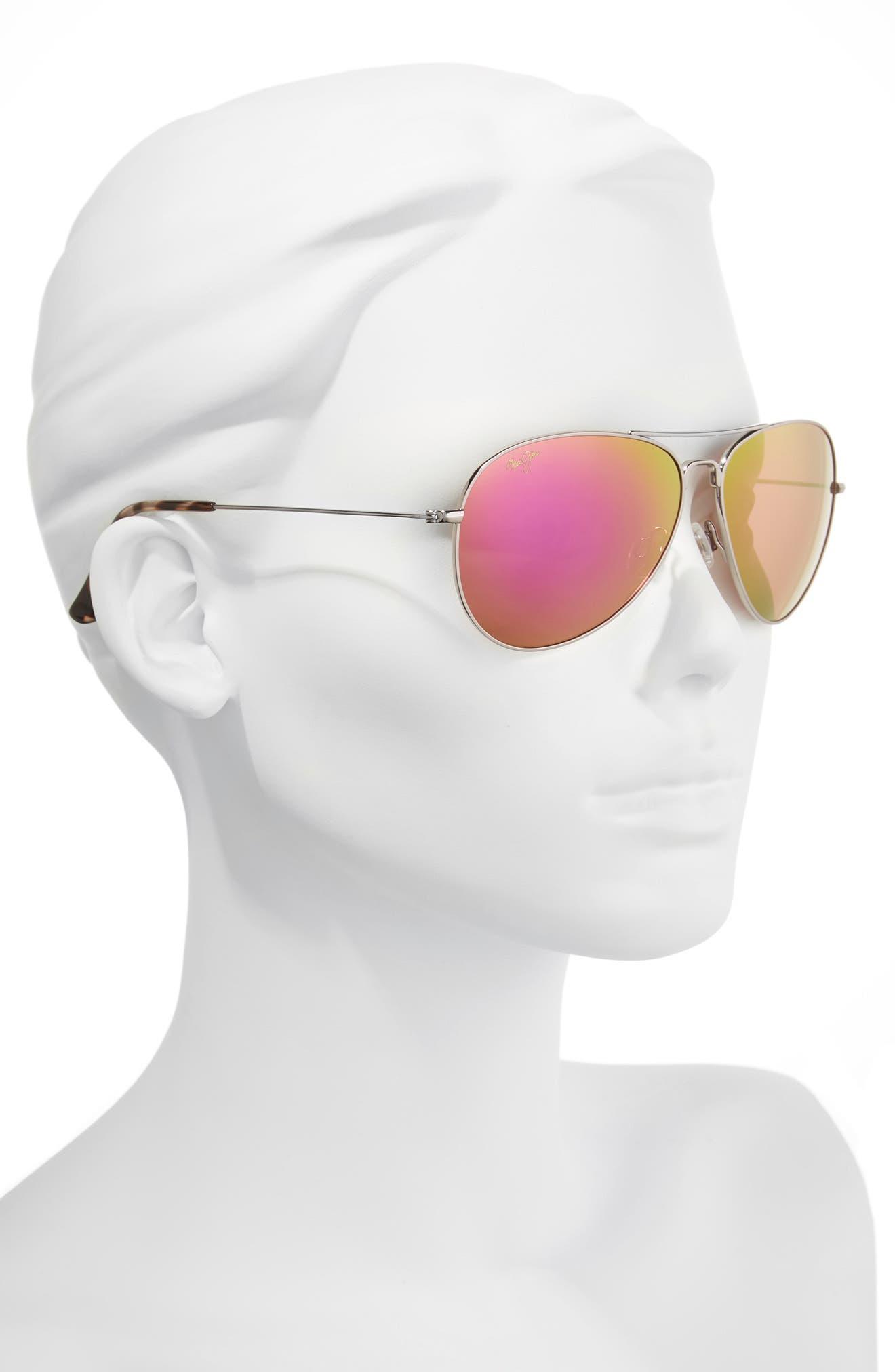 Mavericks 61mm PolarizedPlus2<sup>®</sup> Aviator Sunglasses,                             Alternate thumbnail 2, color,                             ROSE GOLD/ MAUI SUNRISE