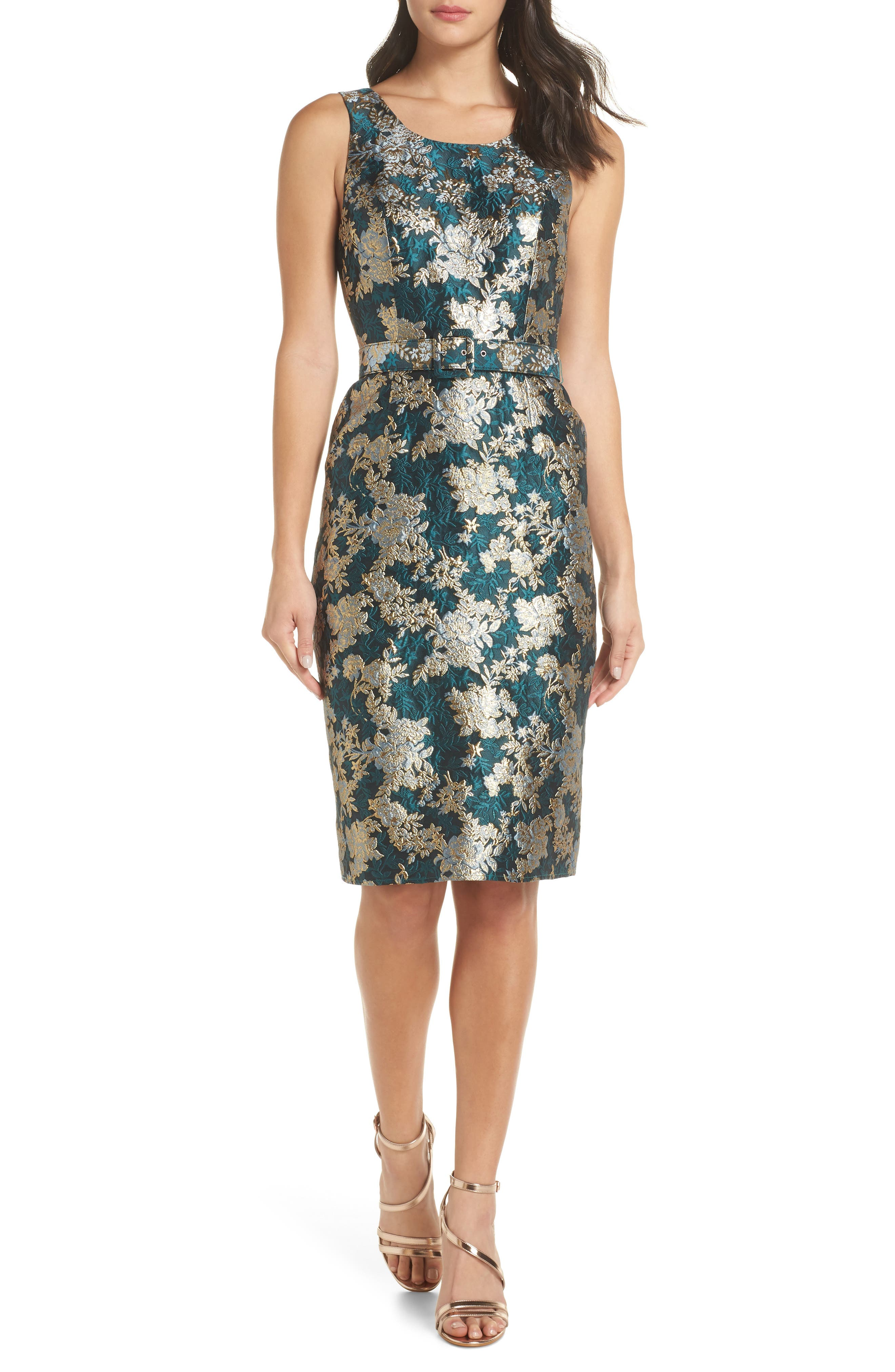 CHARLES HENRY Belted Jacquard A-Line Dress in Teal Jacquard