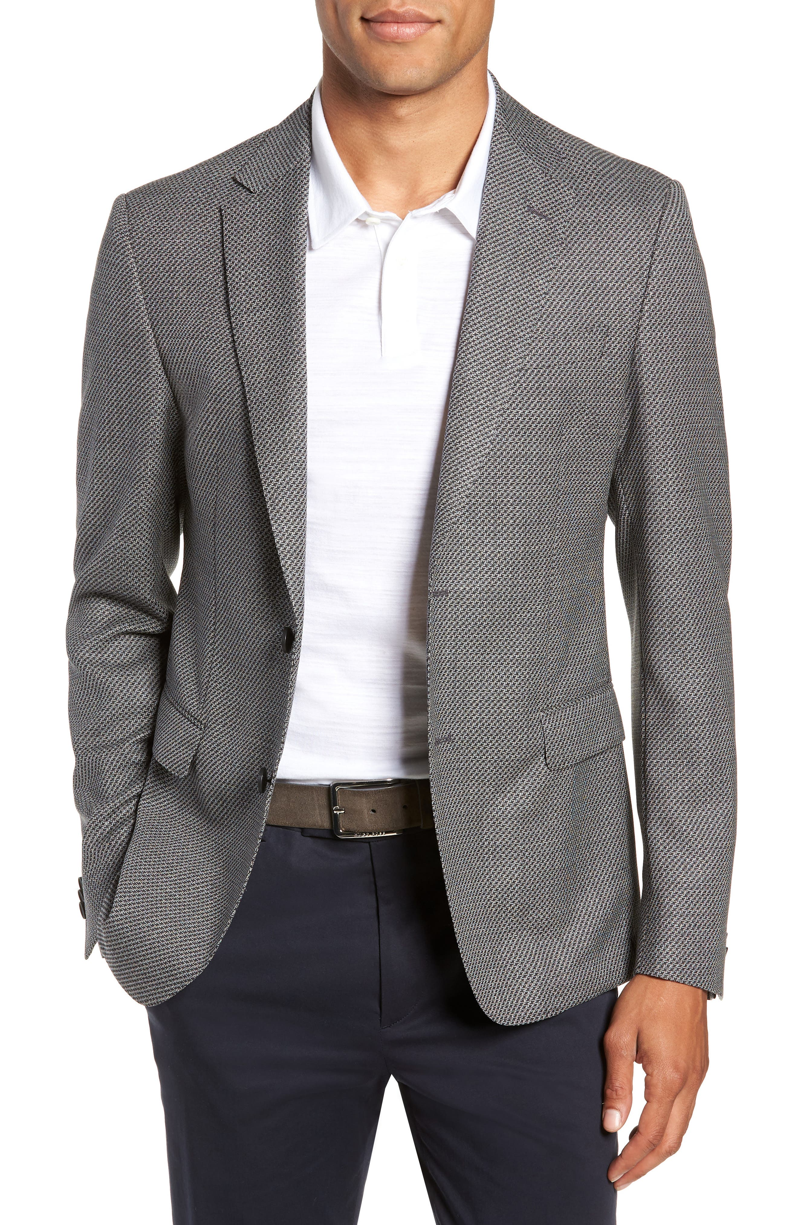 Men's Boss Nobis Trim Fit Houndstooth Wool Sport Coat, Size 40 R - Grey
