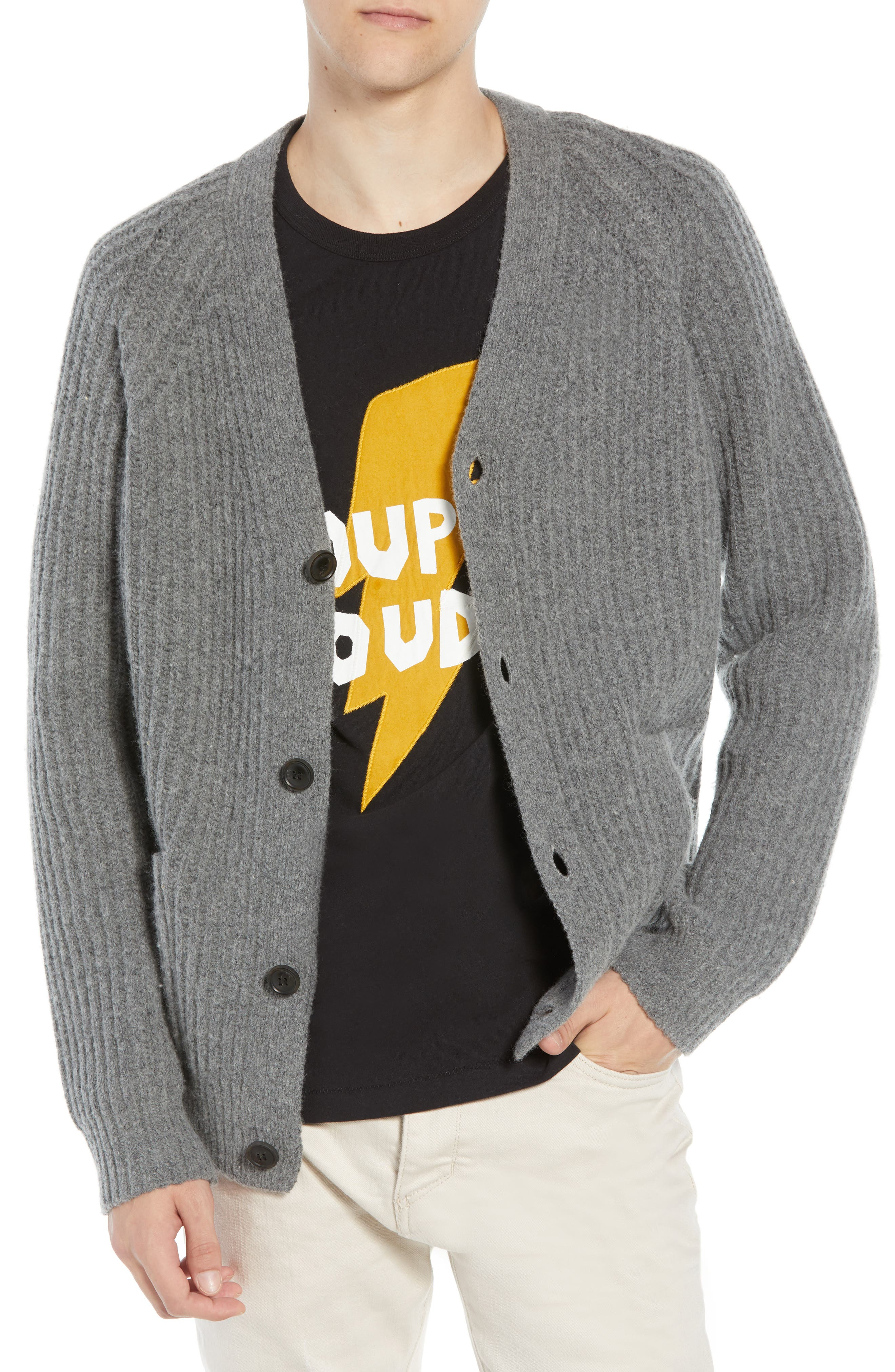 French Connection Supersoft Wool Blend Cardigan, Grey