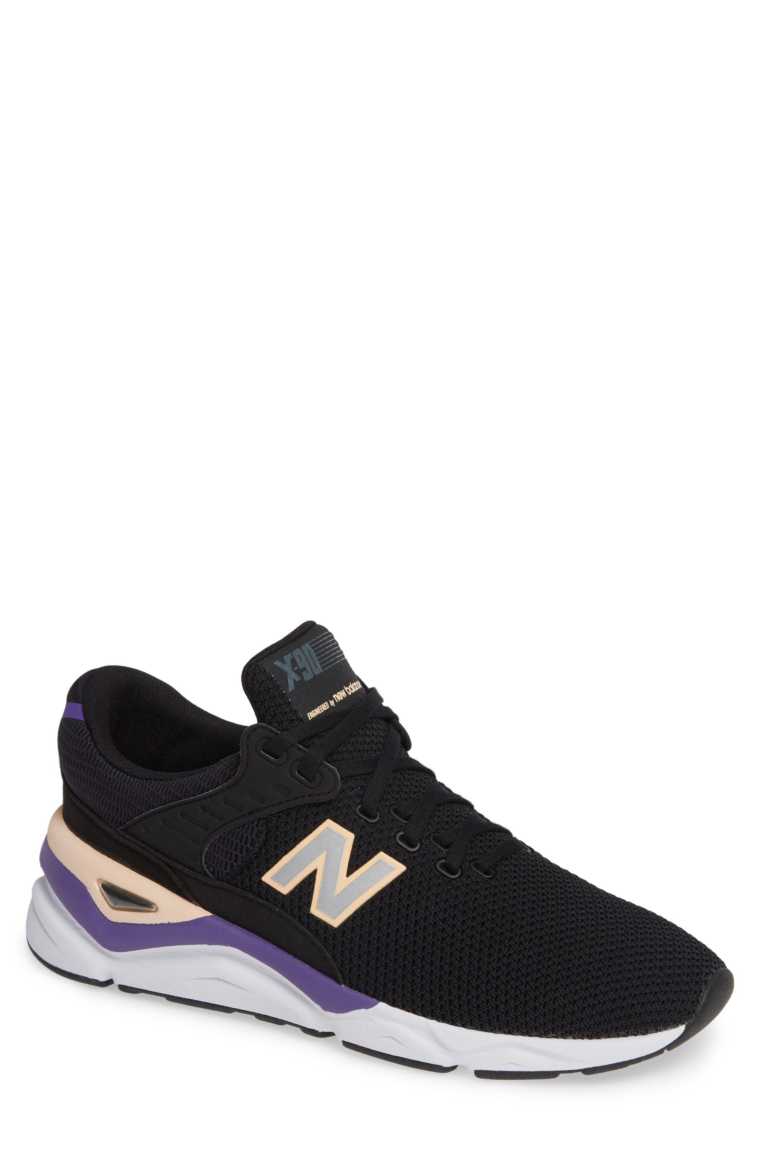 X-90 Knit Sneaker,                         Main,                         color, BLACK