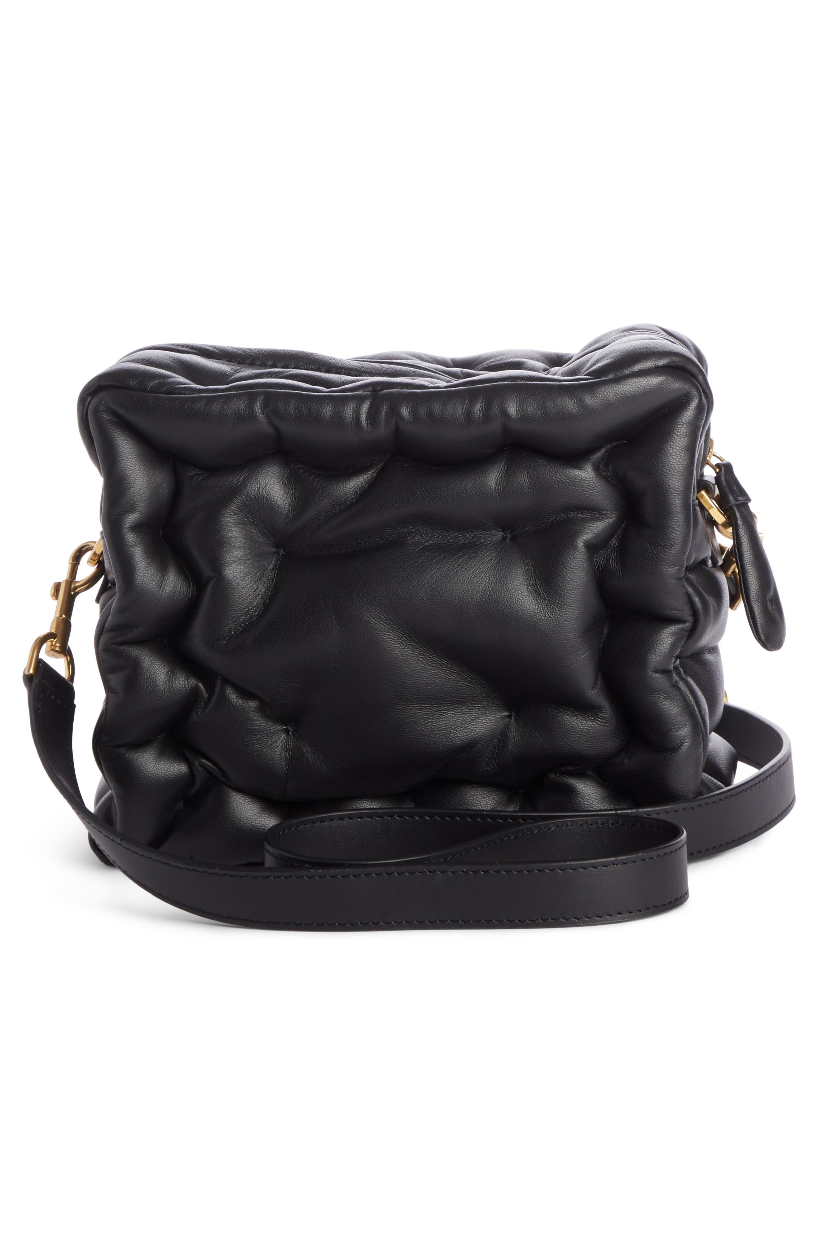 Chubby Cube Leather Crossbody Bag,                             Alternate thumbnail 2, color,                             BLACK