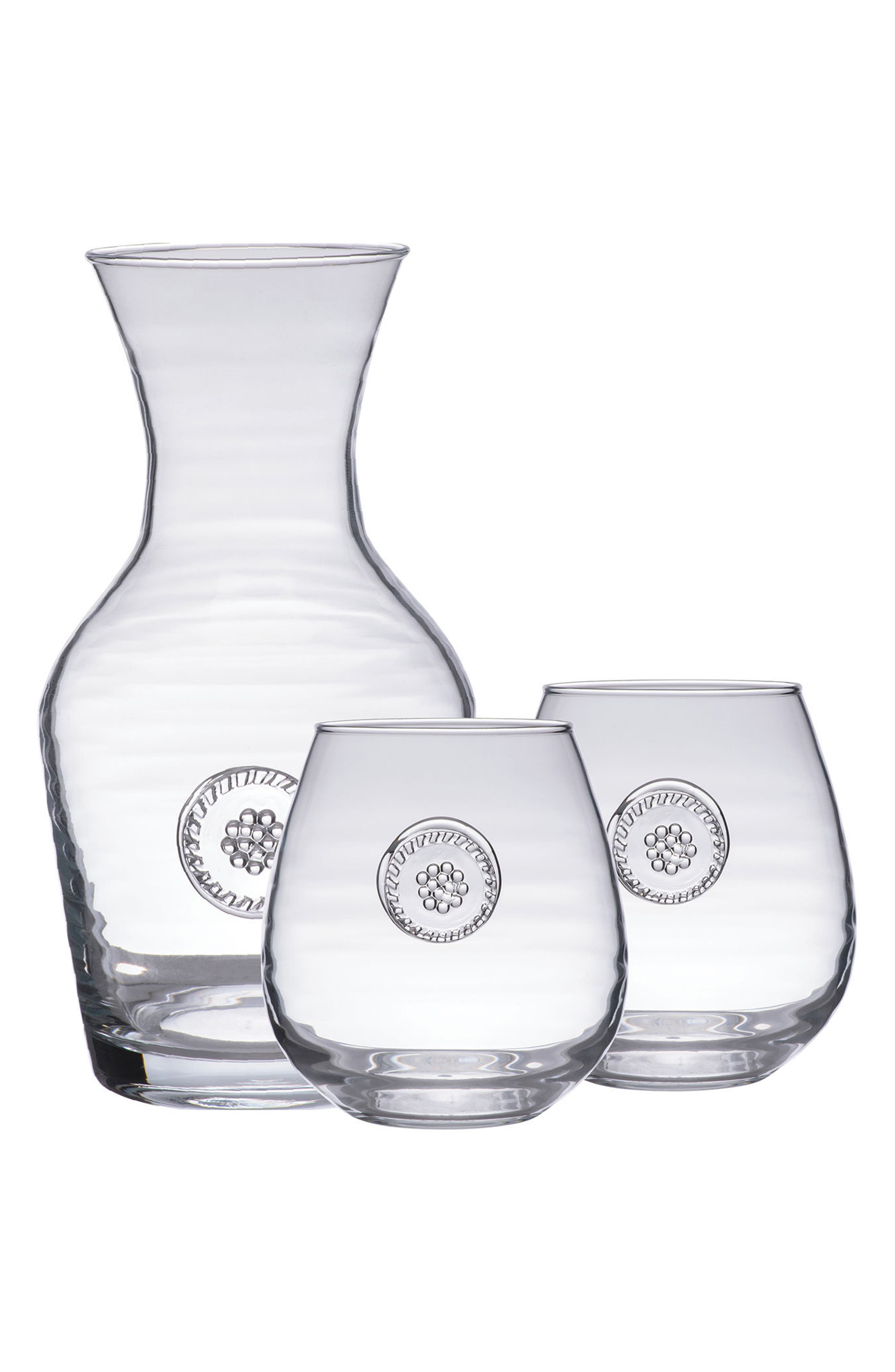 'Berry and Thread' Carafe & StemlessRed WineGlasses,                             Main thumbnail 1, color,                             100