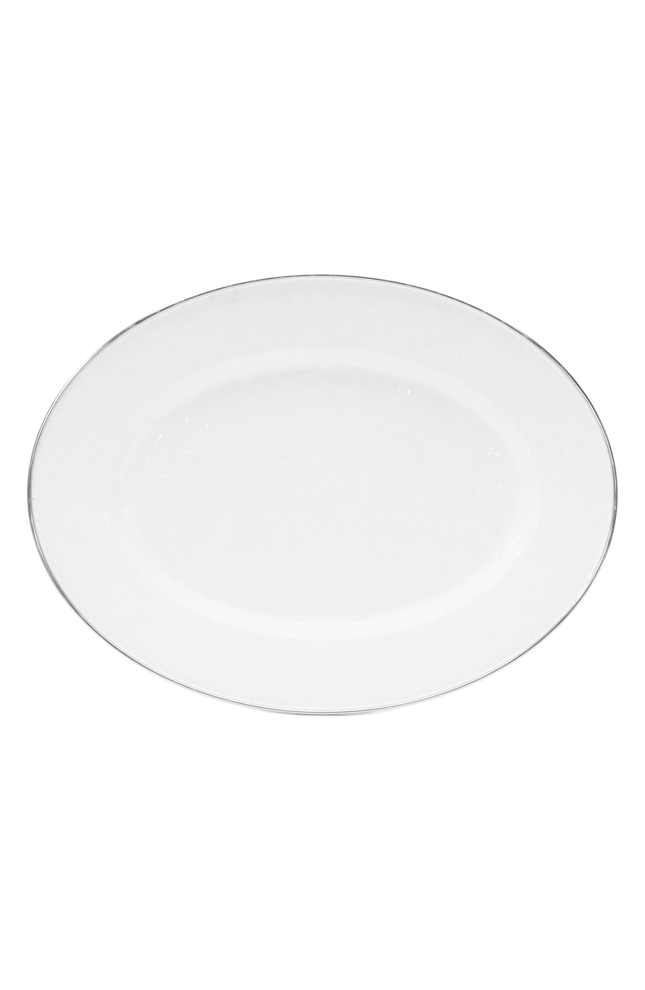 Oval Serving Platter,                         Main,                         color, SOLID WHITE