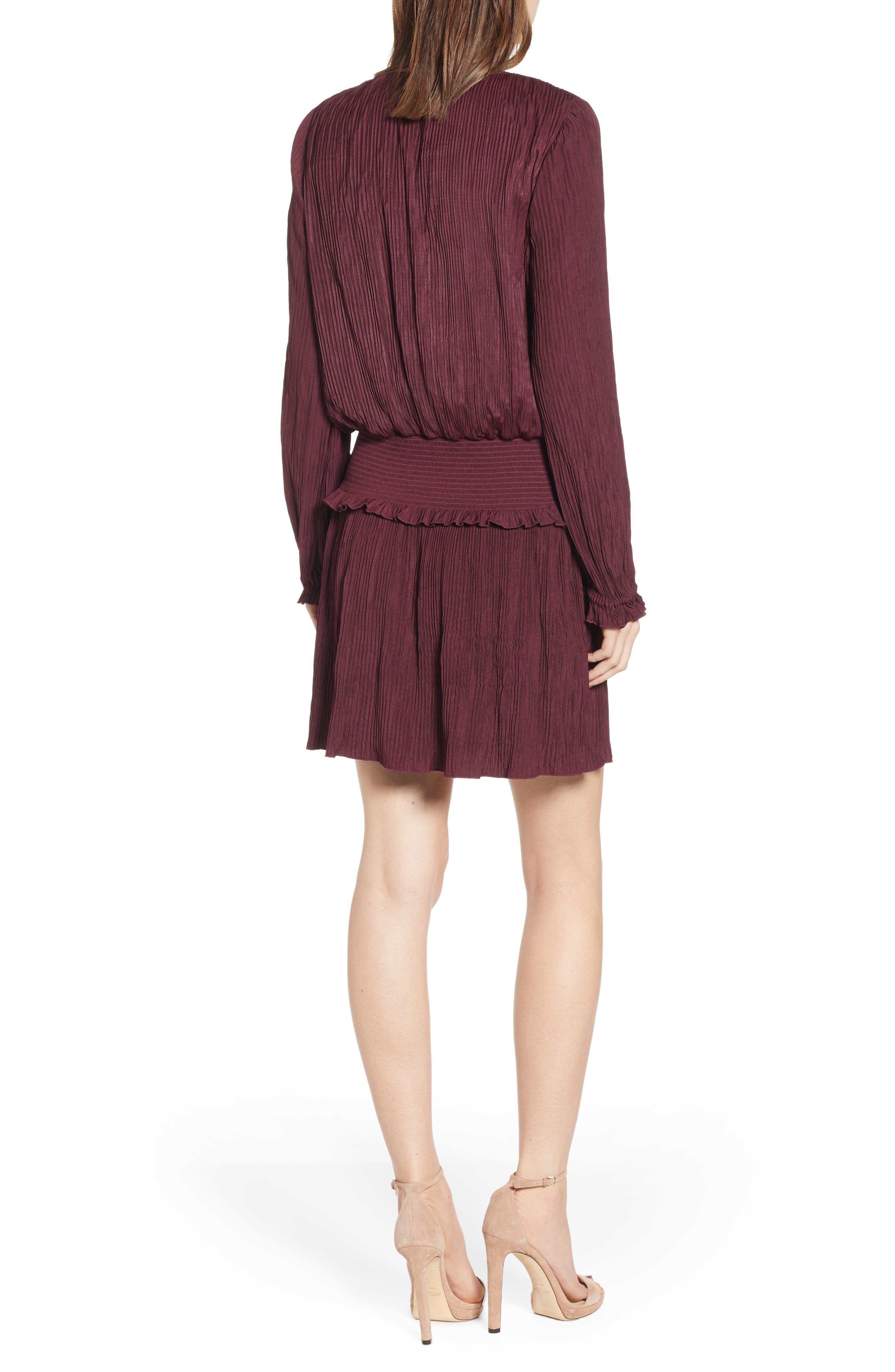 CHELSEA28, Smock Waist Crinkle Dress, Alternate thumbnail 2, color, BURGUNDY STEM