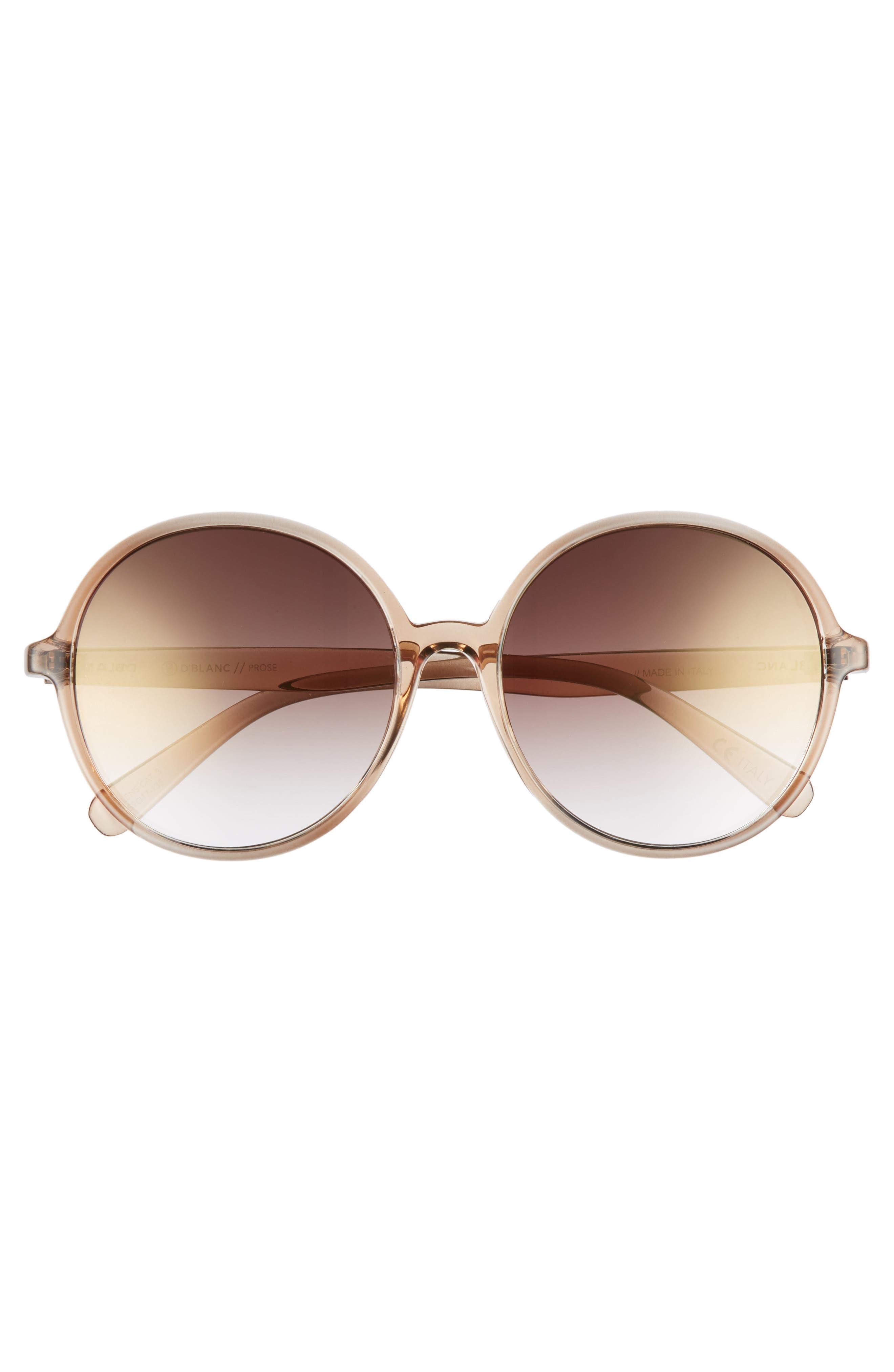 D'BLANC Prose 59mm Round Sunglasses,                             Alternate thumbnail 3, color,                             BROWN OMBRE