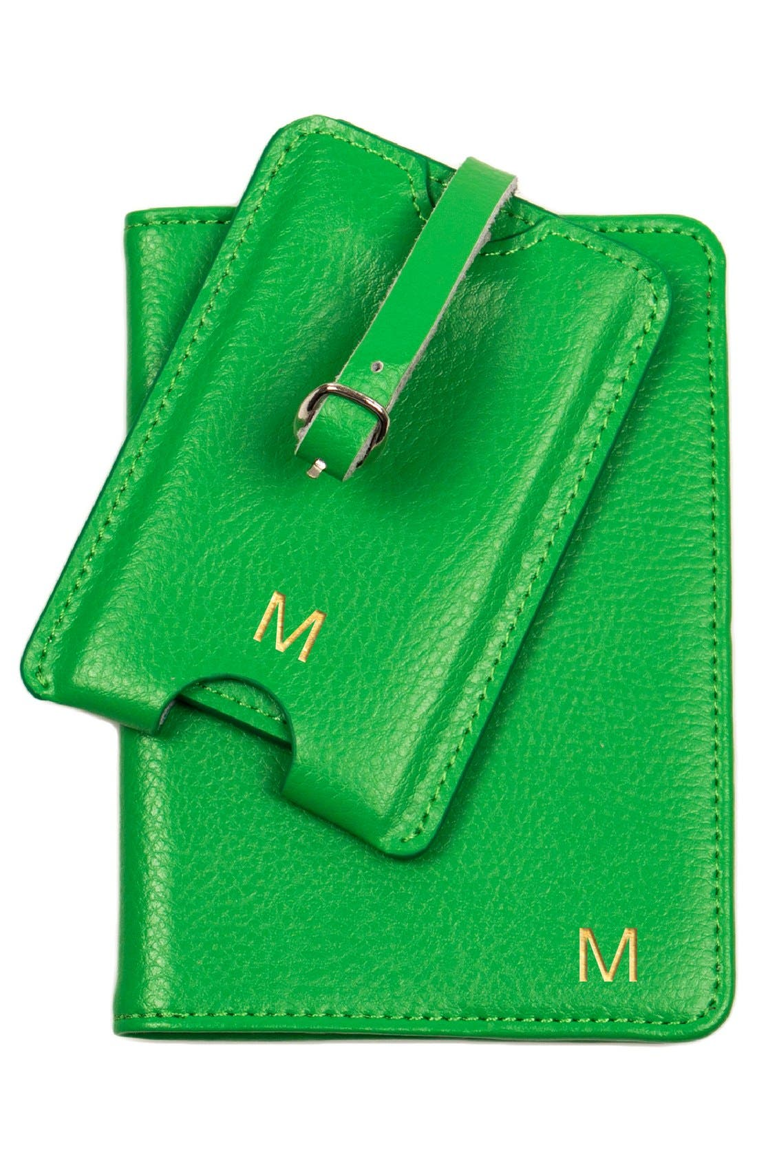 Monogram Passport Case & Luggage Tag,                             Alternate thumbnail 3, color,                             GREEN