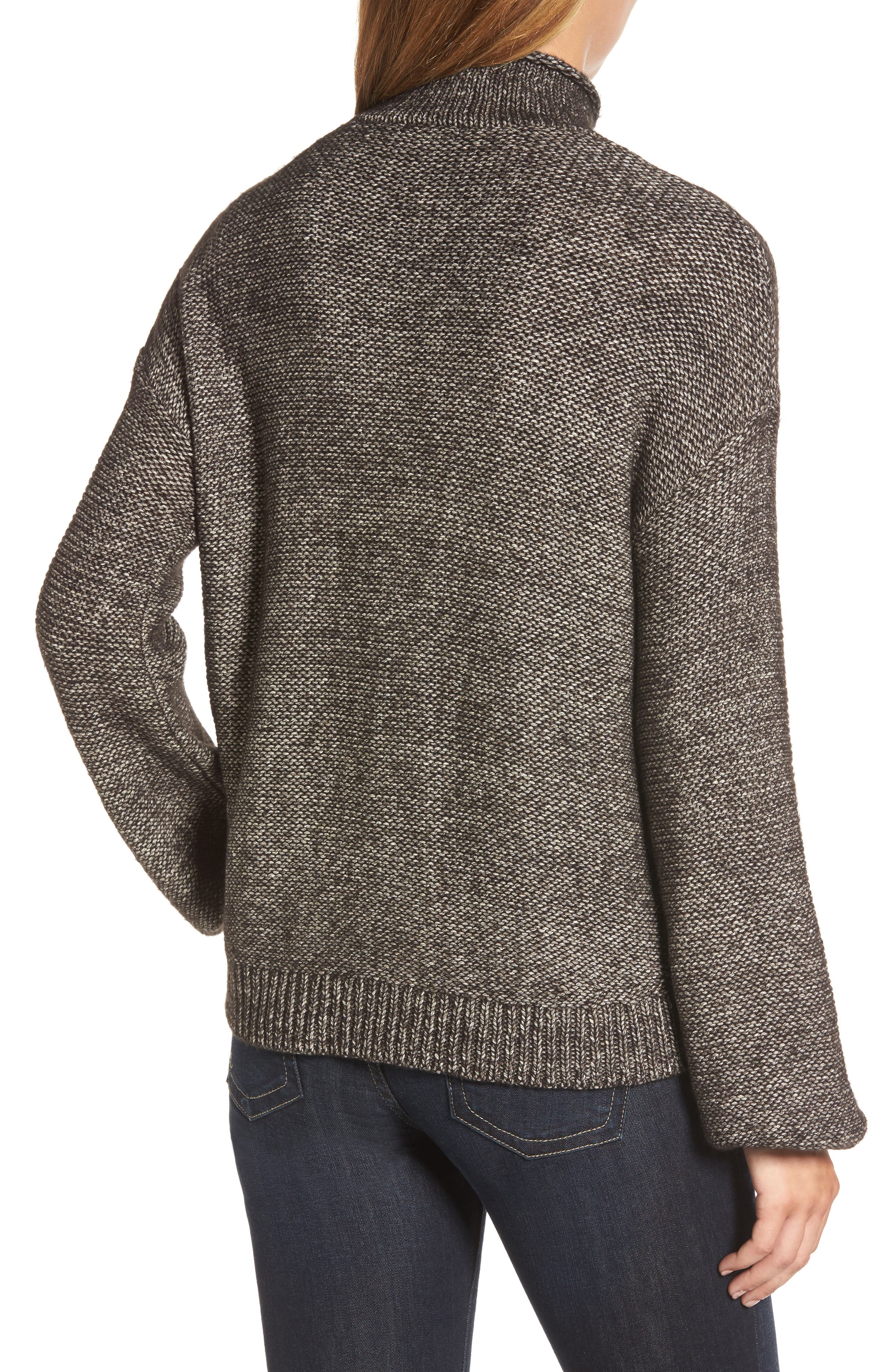 Open Cable Knit Funnel Neck Sweater,                             Alternate thumbnail 2, color,                             001