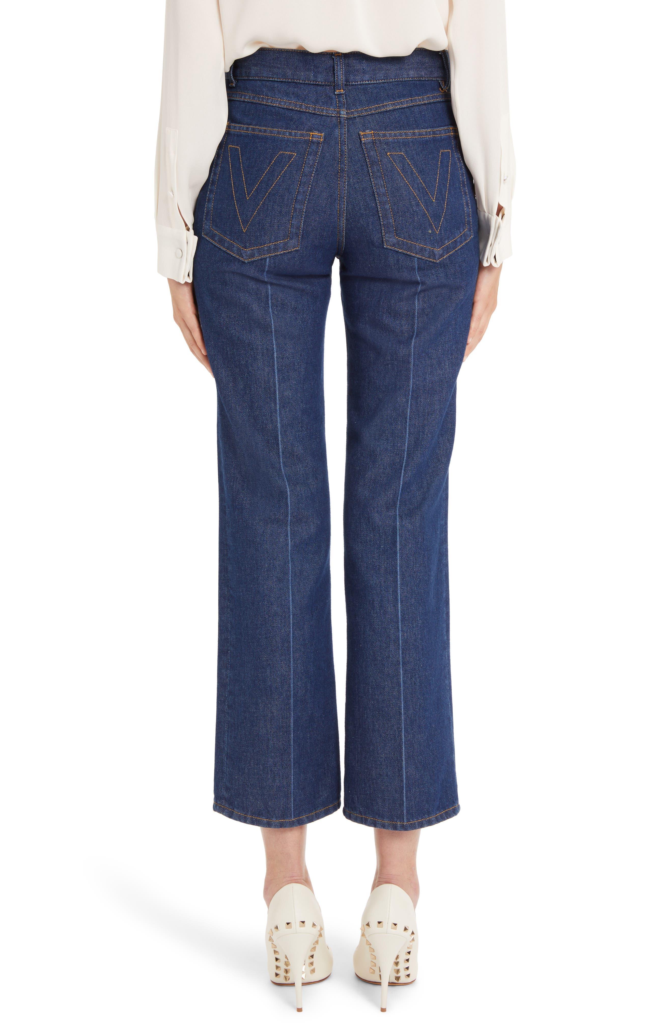 VALENTINO,                             V-Detail Straight Crop Jeans,                             Alternate thumbnail 2, color,                             DENIM BLUE