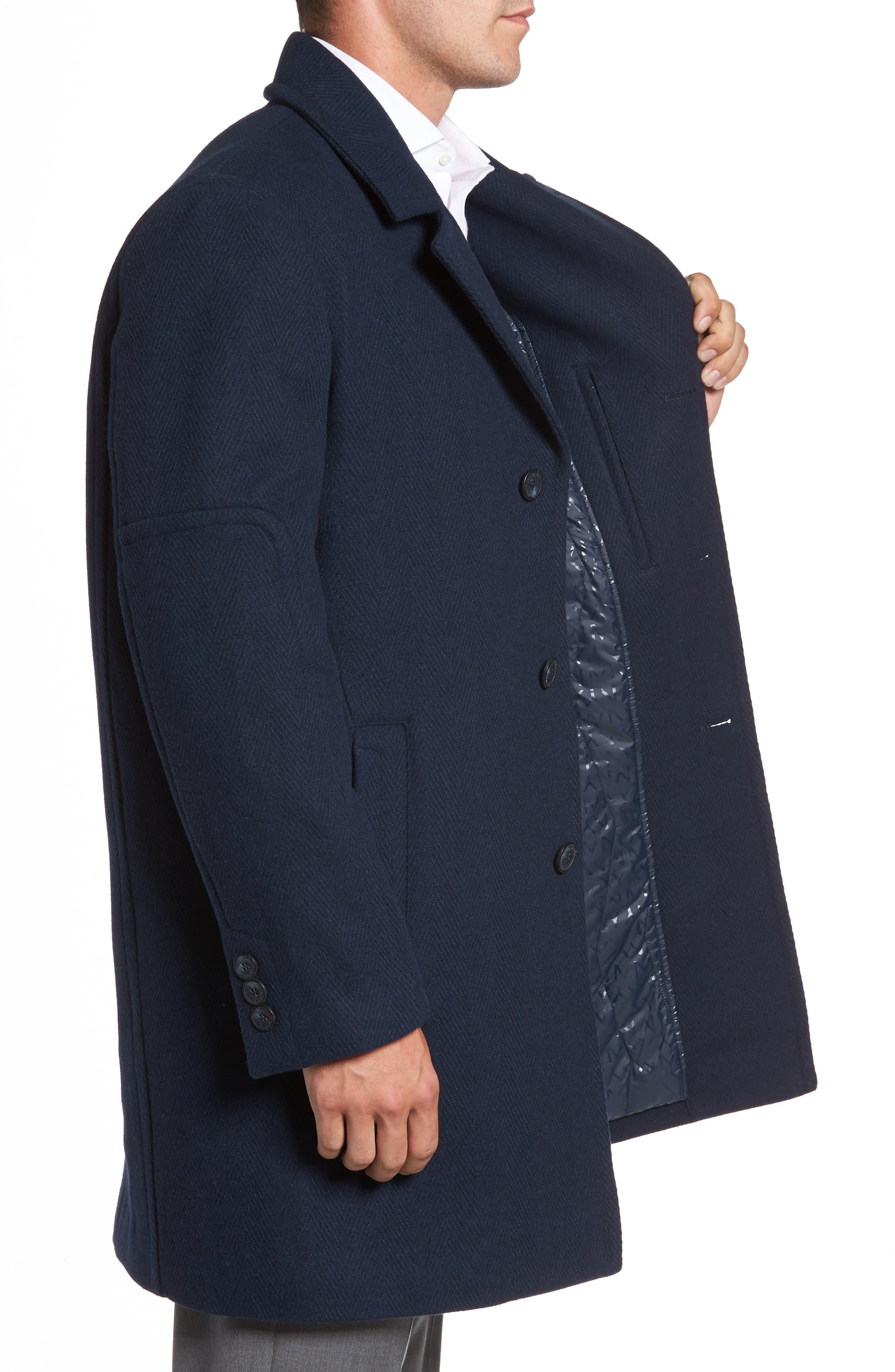 Herringbone Wool Blend Car Coat,                             Alternate thumbnail 6, color,
