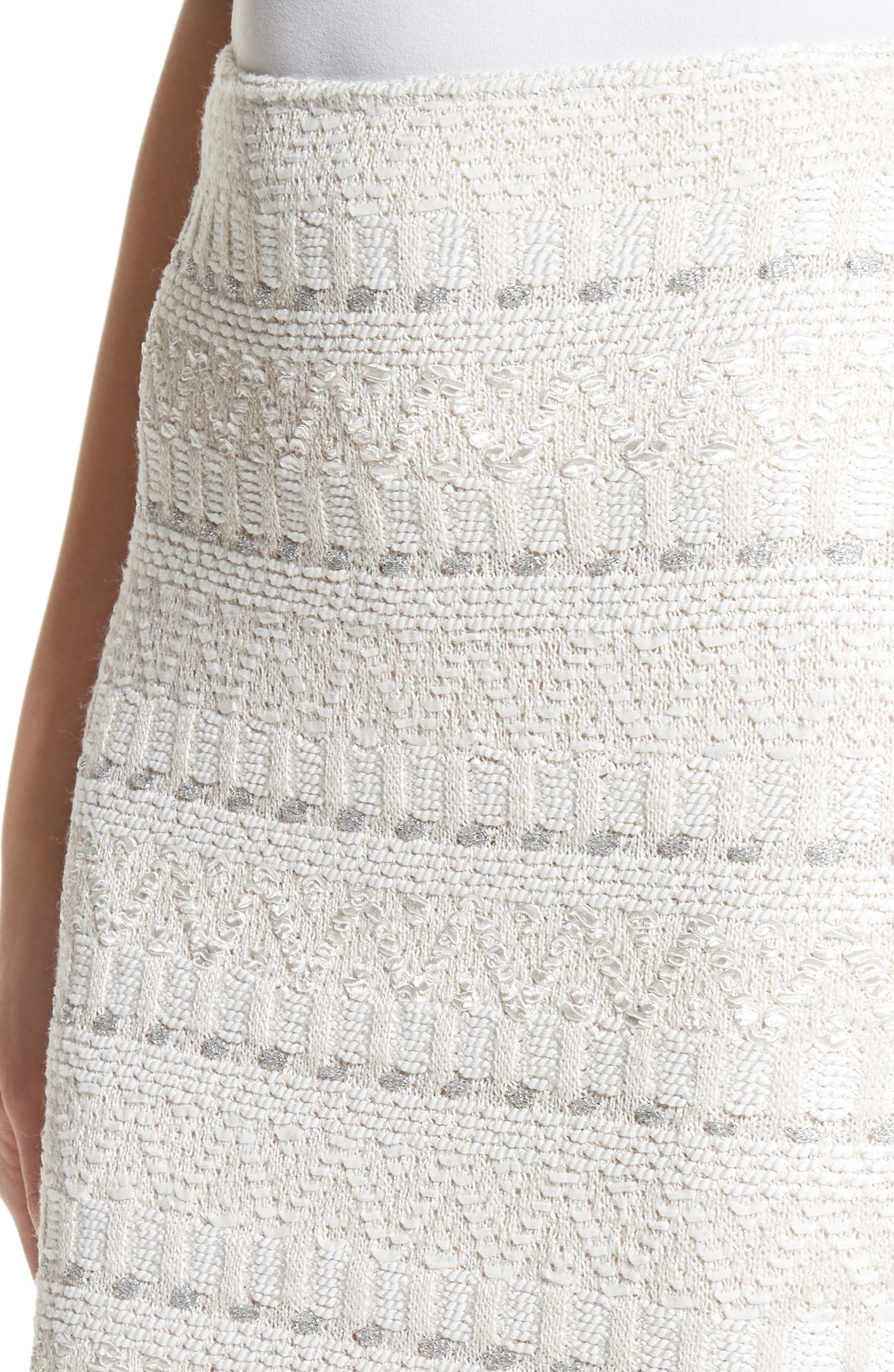 Samar Knit Tweed Pencil Skirt,                             Alternate thumbnail 4, color,                             100