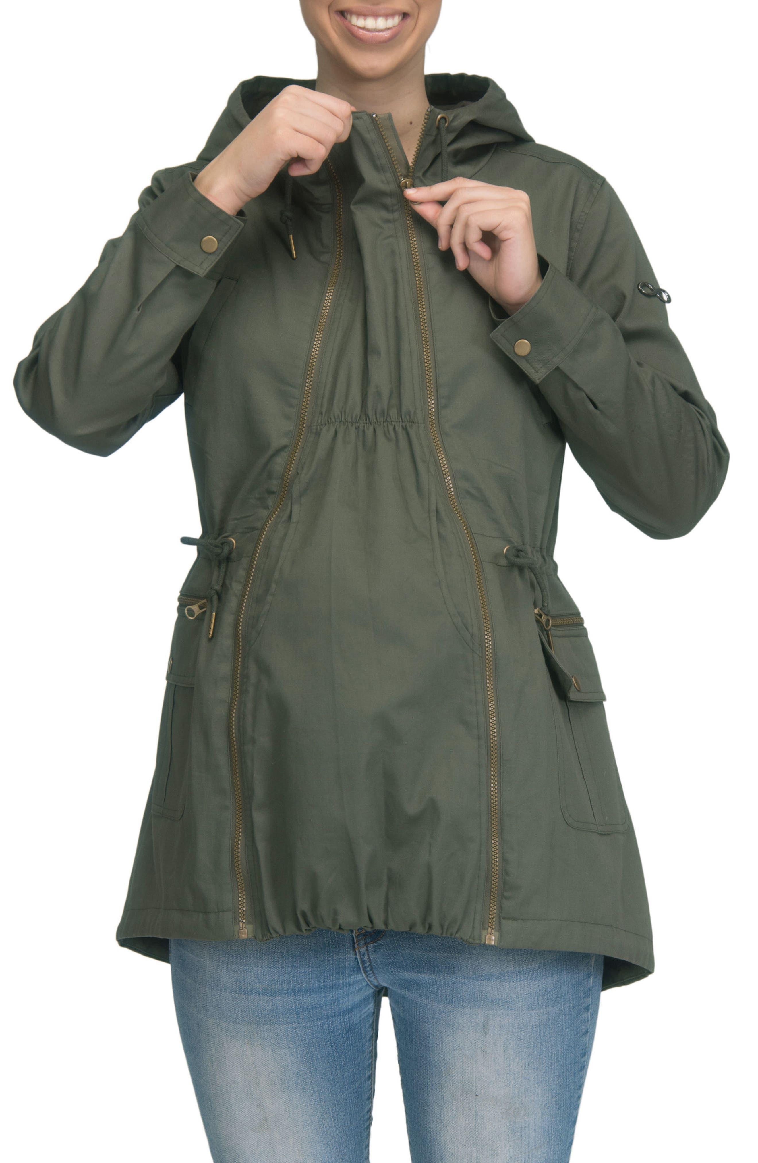 Convertible Military 3-in-1 Maternity/Nursing Jacket,                             Alternate thumbnail 7, color,                             KHAKI GREEN