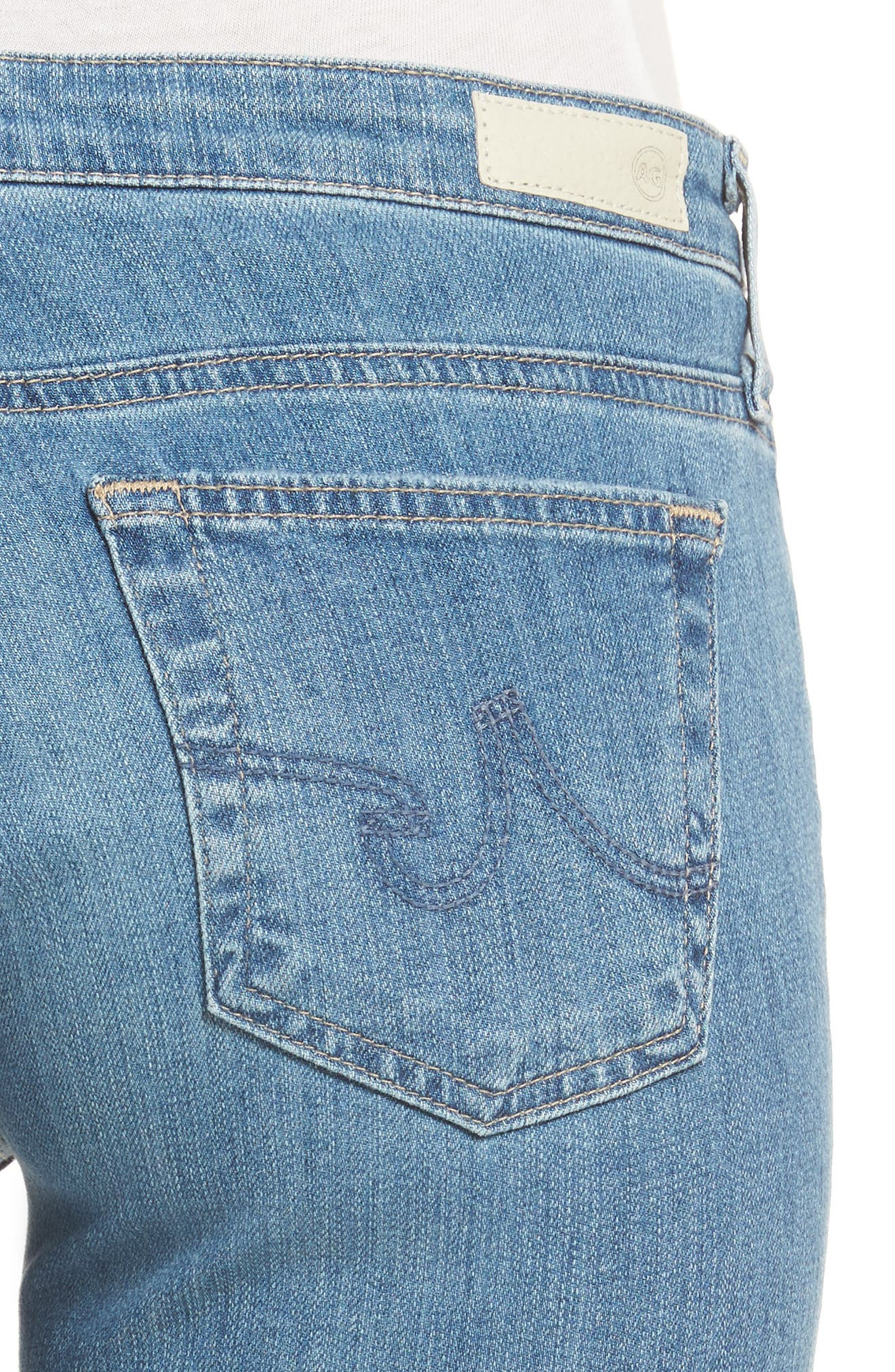 'Stilt' Distressed Roll Cuff Cigarette Jeans,                             Alternate thumbnail 4, color,                             403