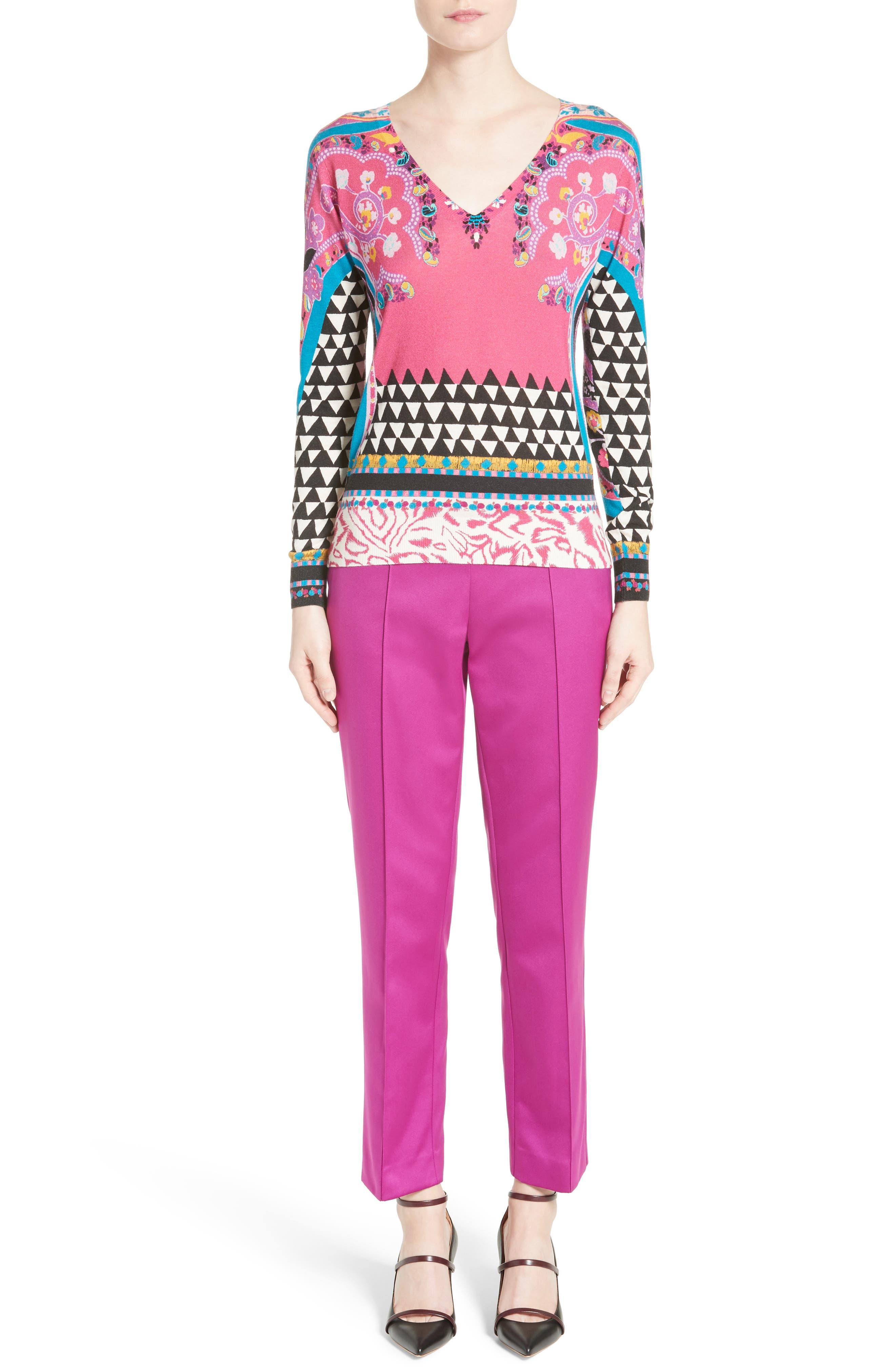 Geo Silk & Cashmere Sweater,                             Alternate thumbnail 6, color,                             650