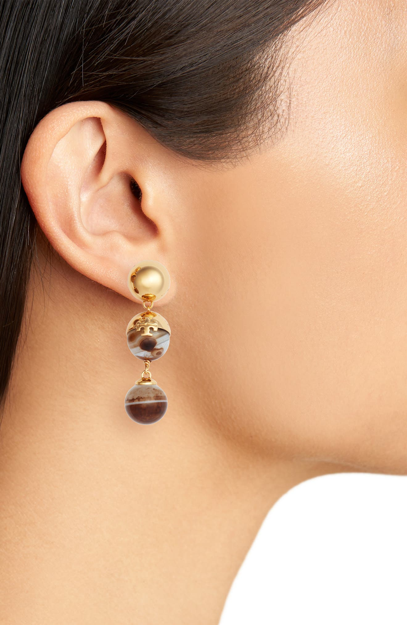 Logo Bead Linear Earrings,                             Alternate thumbnail 2, color,                             AGATE/ TORY GOLD
