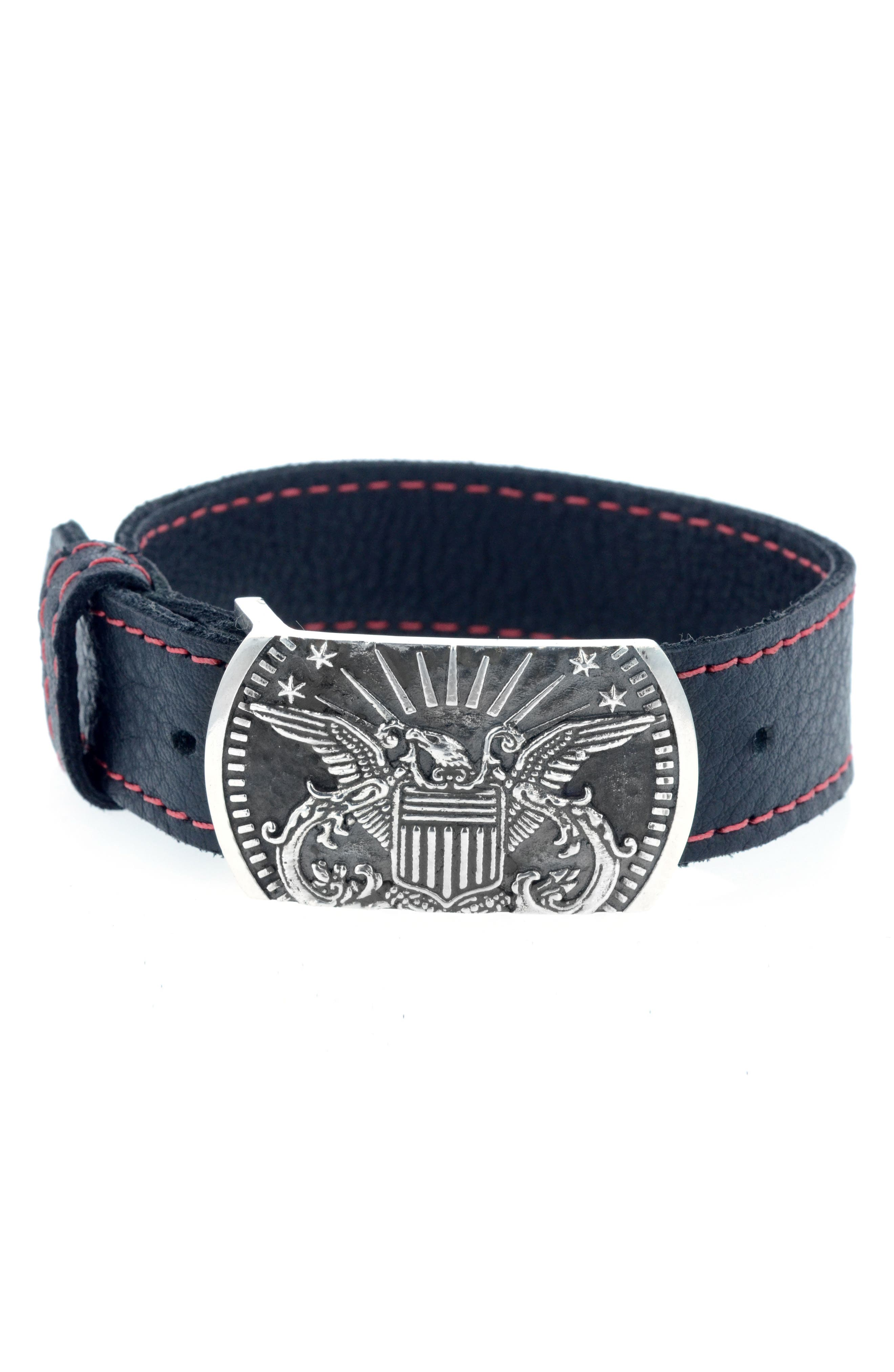Eagle Bracelet,                             Main thumbnail 1, color,                             BLACK/ SILVER