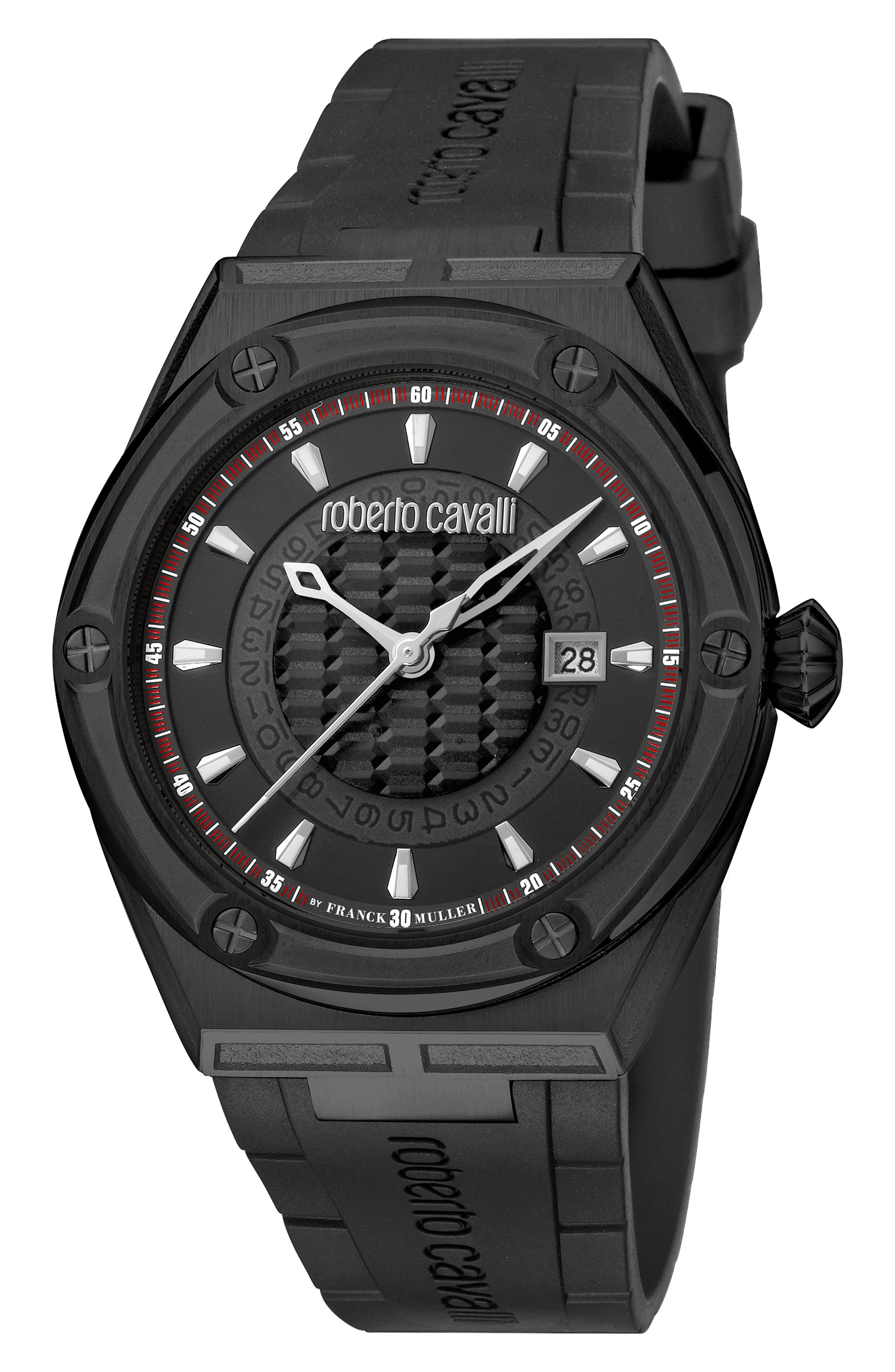 ROBERTO CAVALLI BY FRANCK MULLER Scala Automatic Rubber Strap Watch, 45Mm in Black