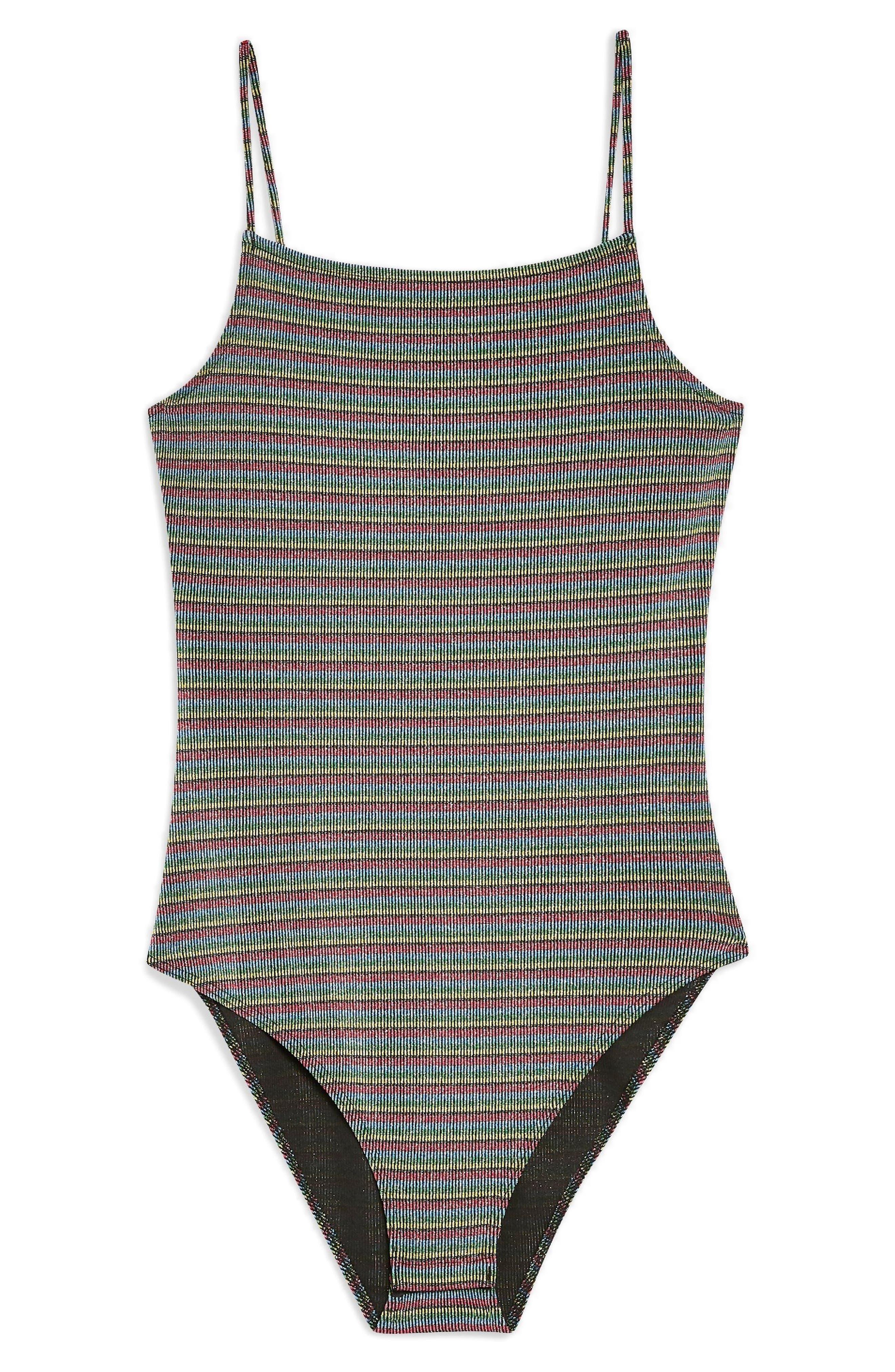 Metallic Stripe Bodysuit,                             Alternate thumbnail 3, color,