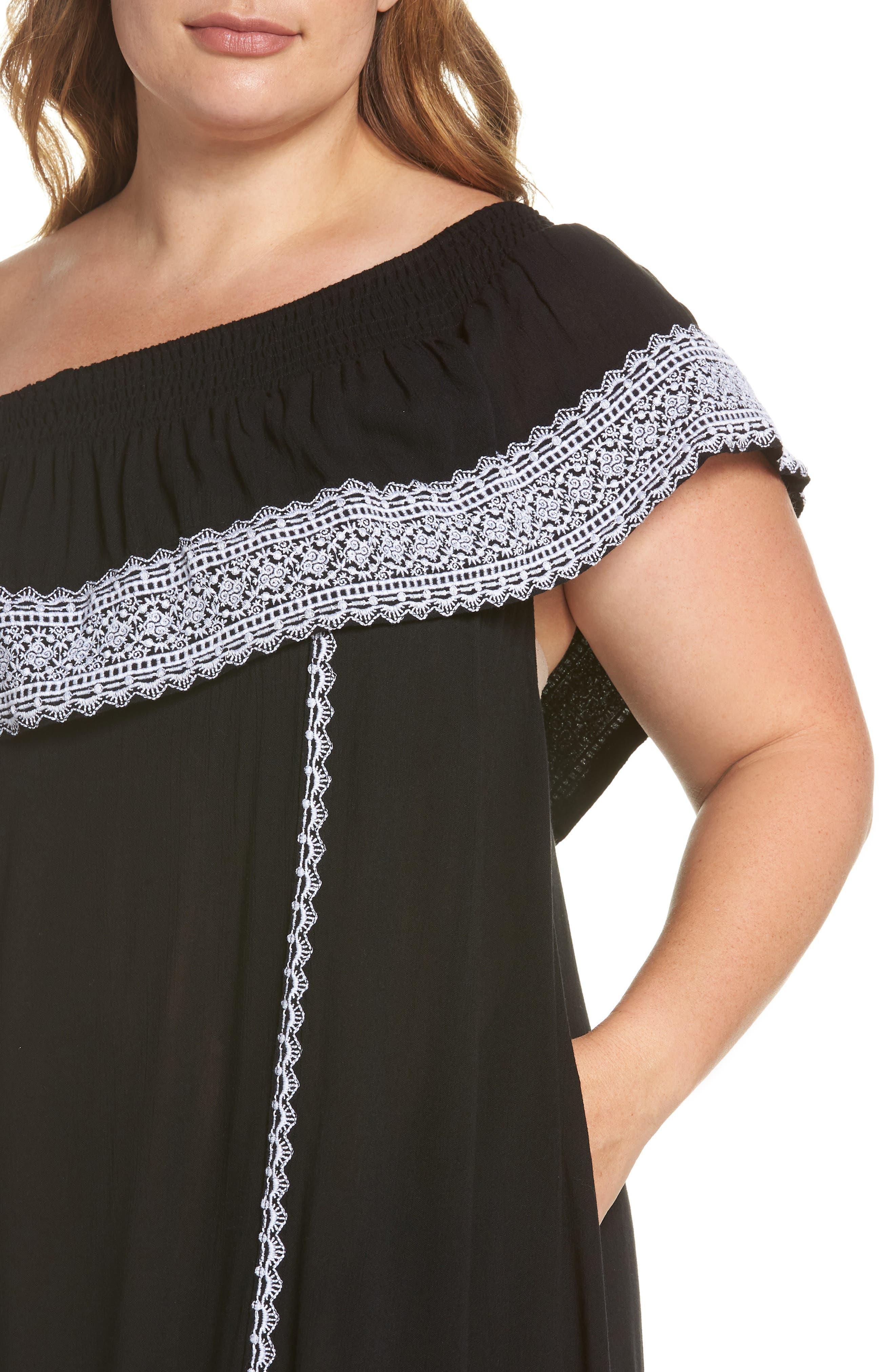 Gavin One-Shoulder Cover-Up Dress,                             Alternate thumbnail 4, color,                             002