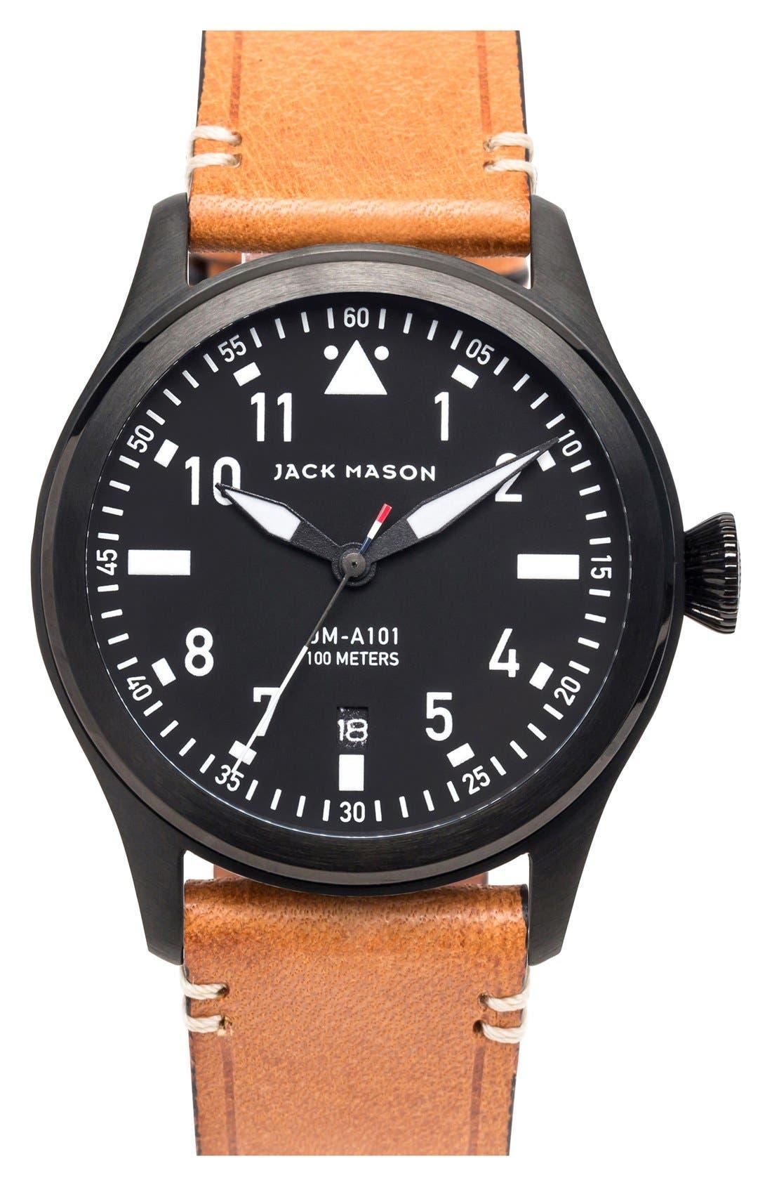 Aviation Leather Strap Watch, 42mm,                             Main thumbnail 1, color,                             BLACK/ BLACK/ TAN