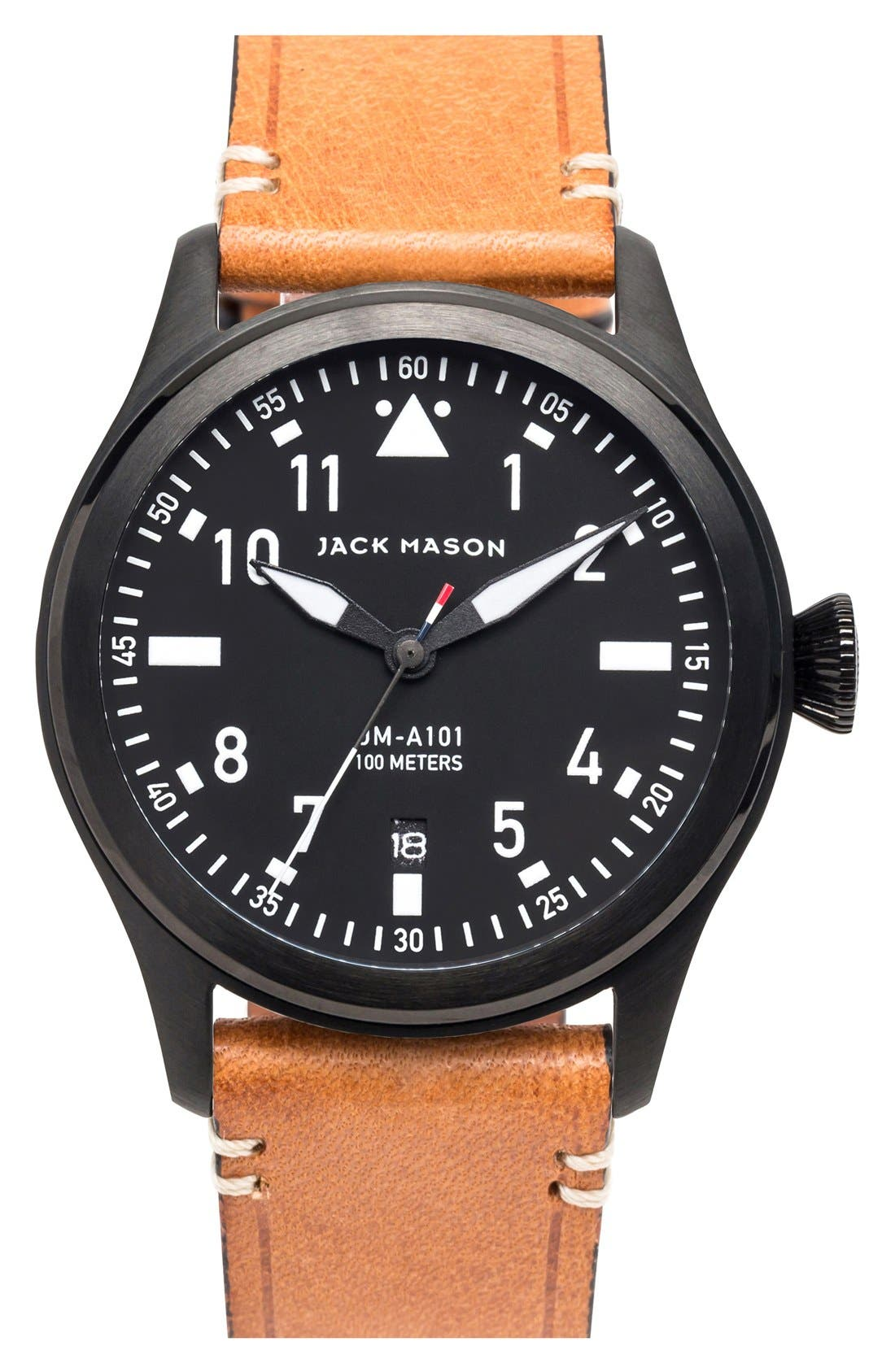 Aviation Leather Strap Watch, 42mm,                         Main,                         color, BLACK/ BLACK/ TAN
