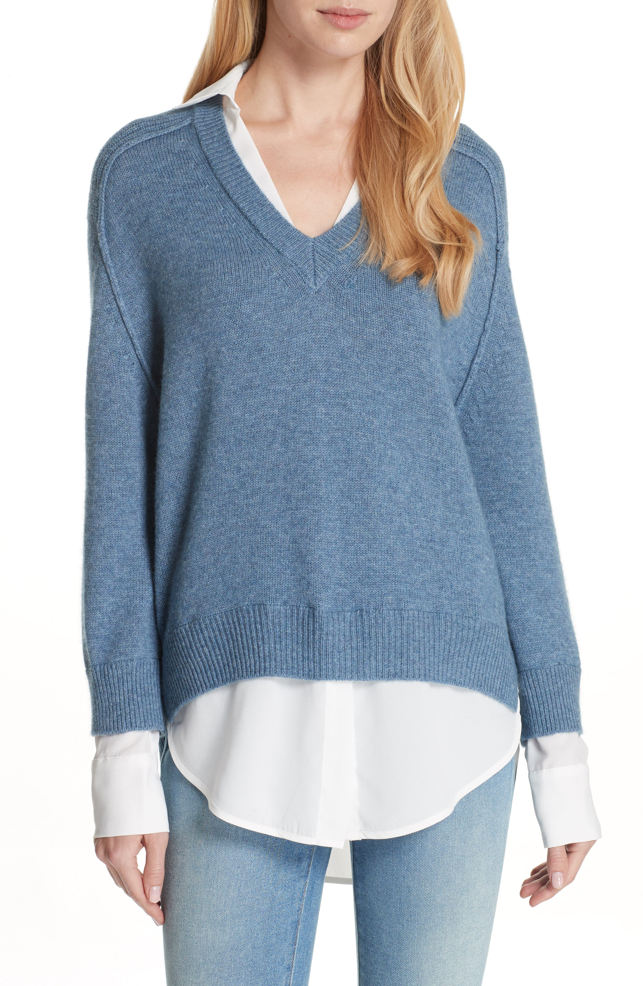 V-Neck Layered Pullover,                             Main thumbnail 1, color,                             JEAN