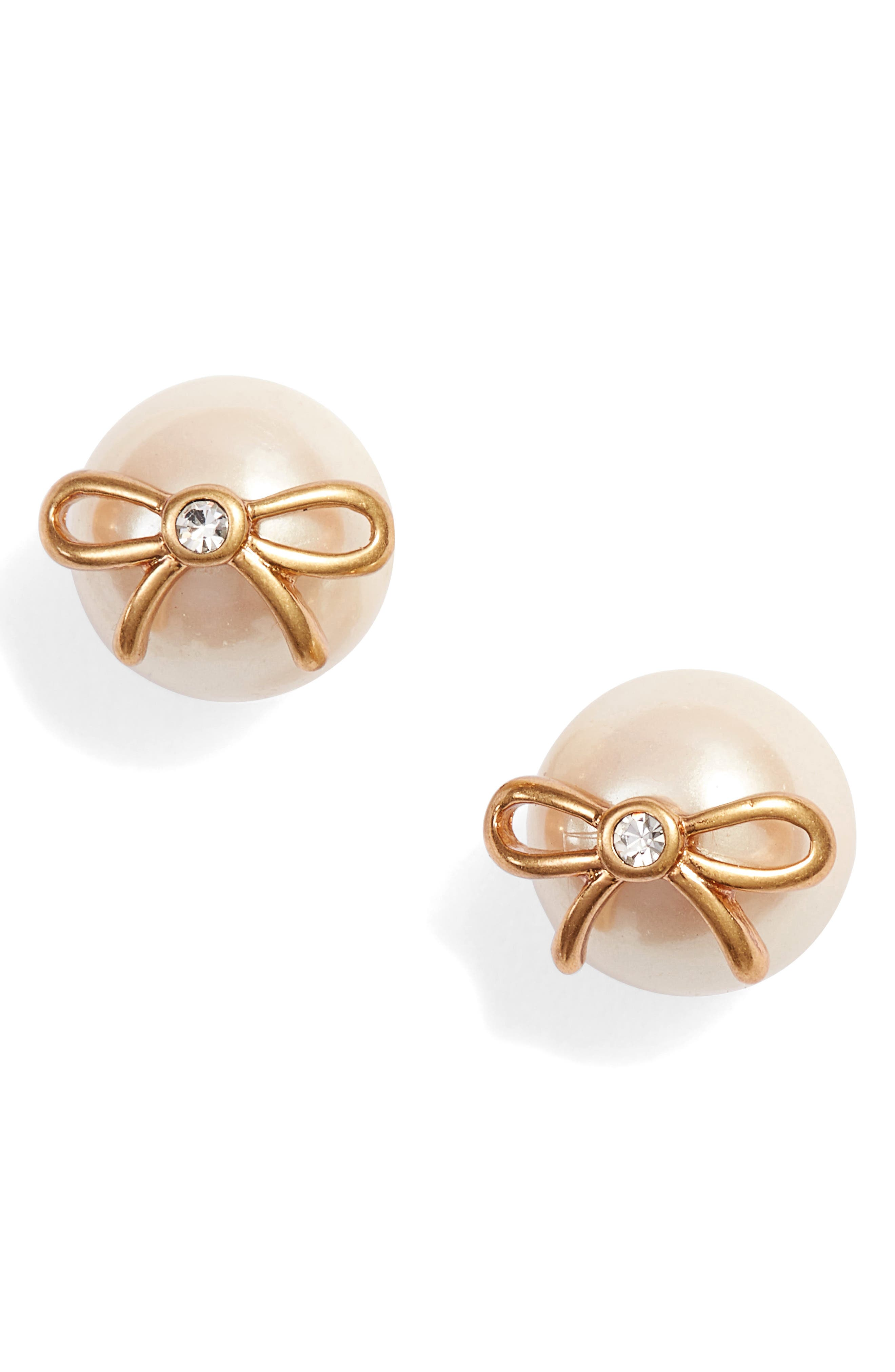 bow pearly bead stud earrings,                             Main thumbnail 1, color,                             CREAM