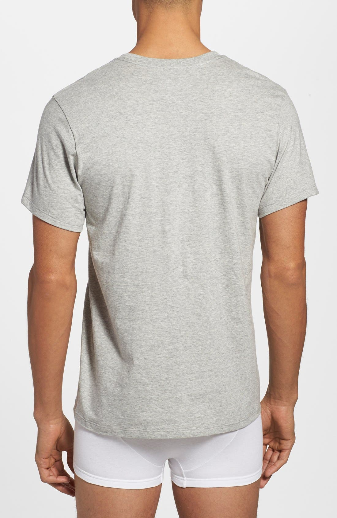 Assorted 3-Pack Classic Fit Cotton V-Neck T-Shirt,                             Alternate thumbnail 3, color,                             100