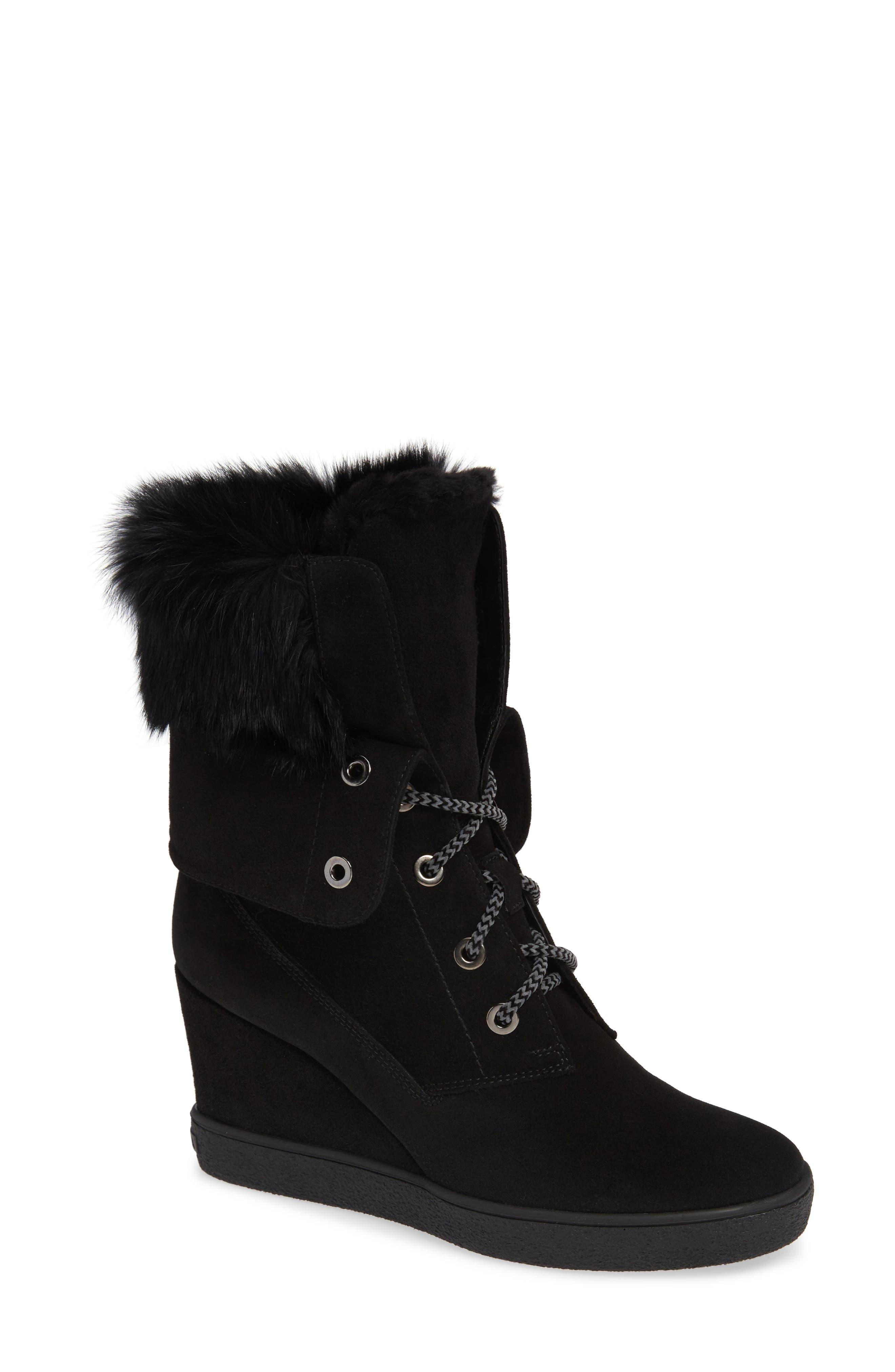 Aquatalia Cordelia Water Resistant Genuine Rabbit Fur Boot, Black