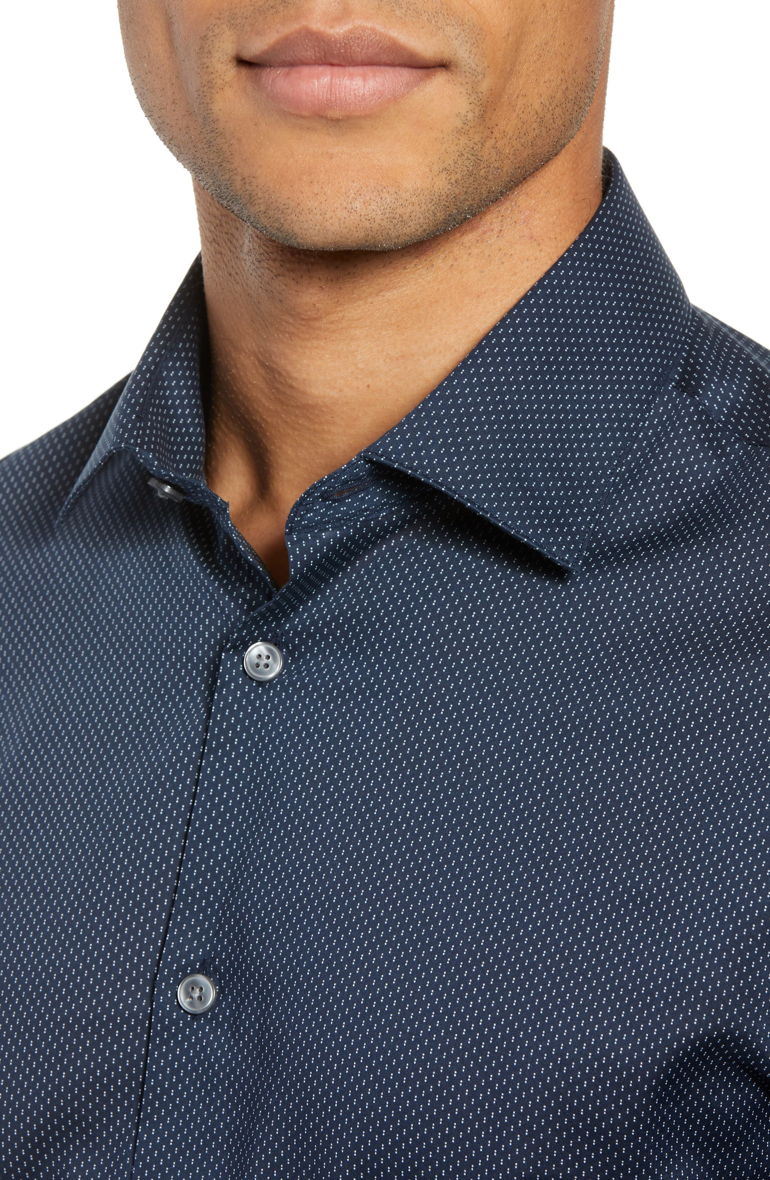 Slim Fit Dot Dress Shirt,                             Alternate thumbnail 2, color,                             INDIGO