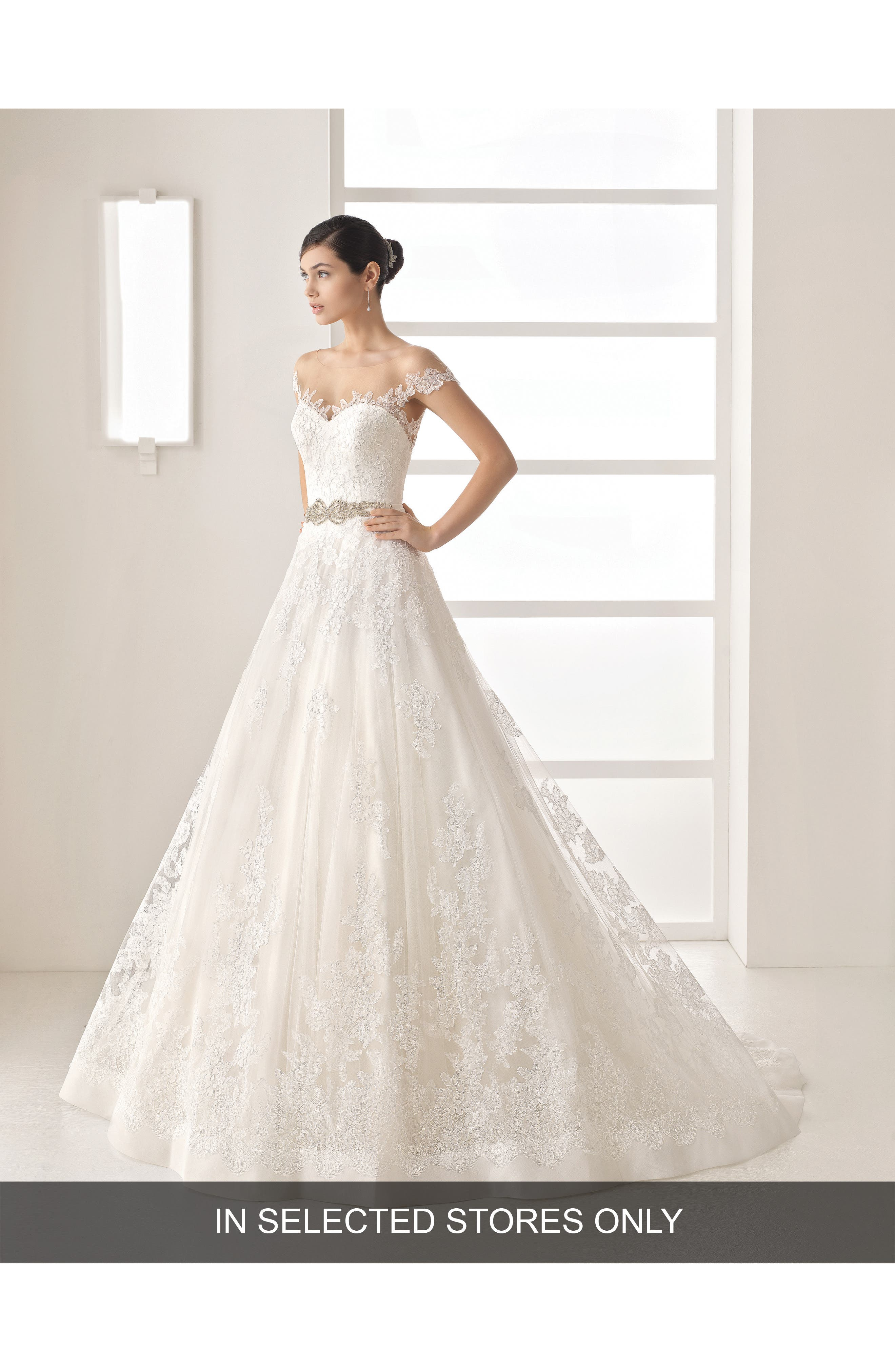 Rosa Clara Olesa Illusion Off the Shoulder Lace & Tulle Gown,                             Main thumbnail 1, color,                             250