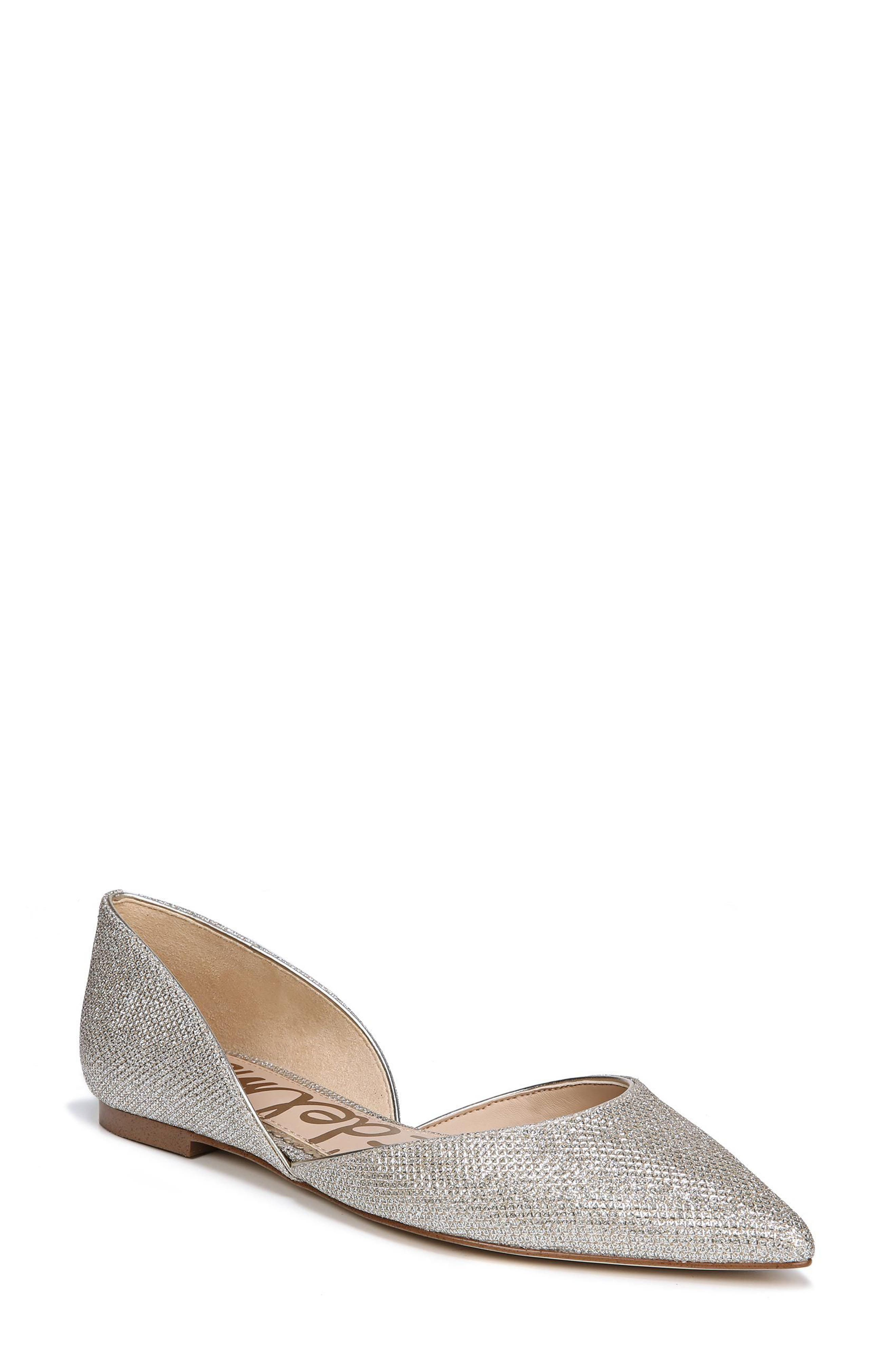 Rodney Pointy Toe d'Orsay Flat,                         Main,                         color, JUTE GLAM FABRIC