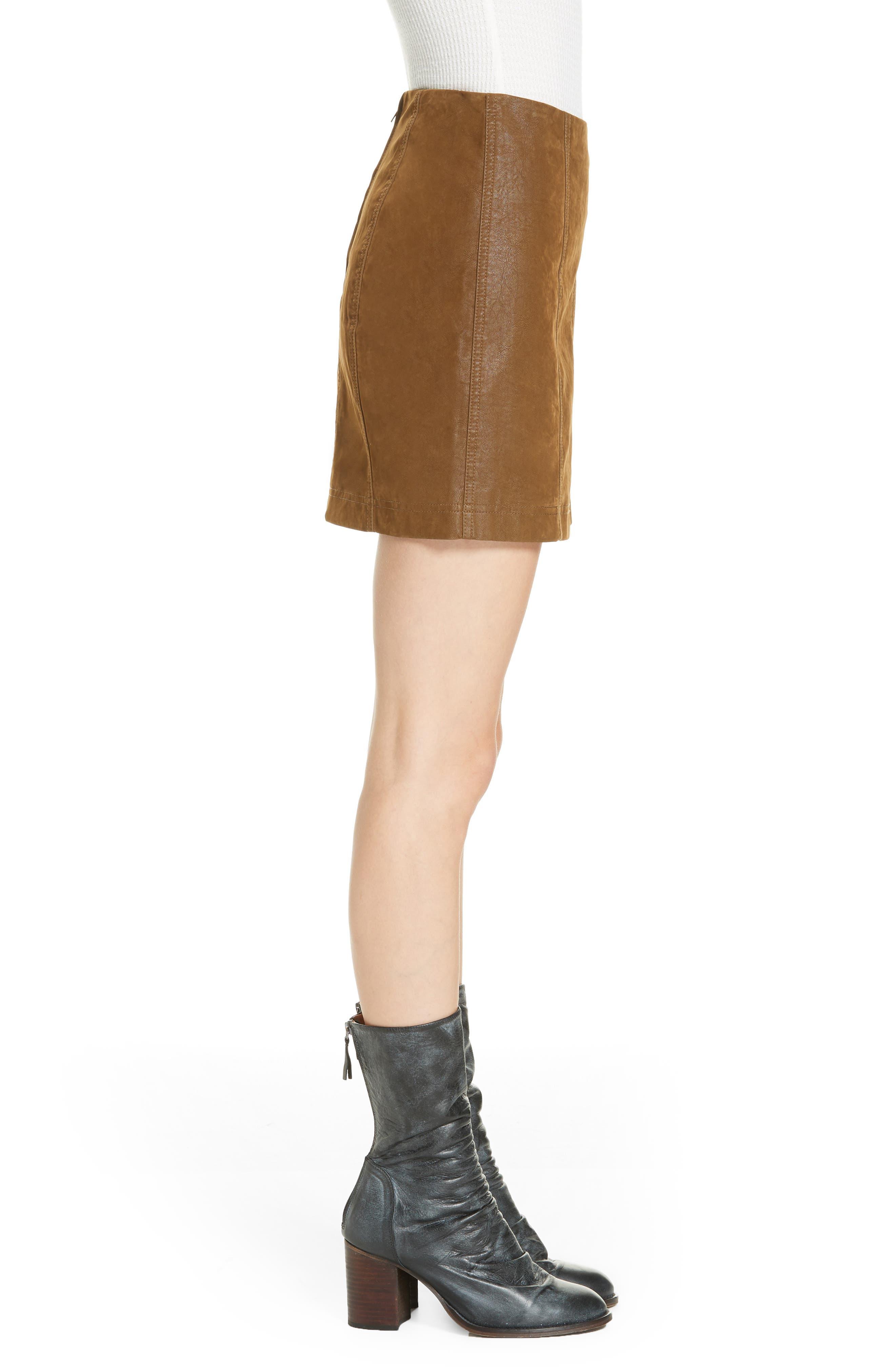 Faux Leather Miniskirt,                             Alternate thumbnail 3, color,                             394