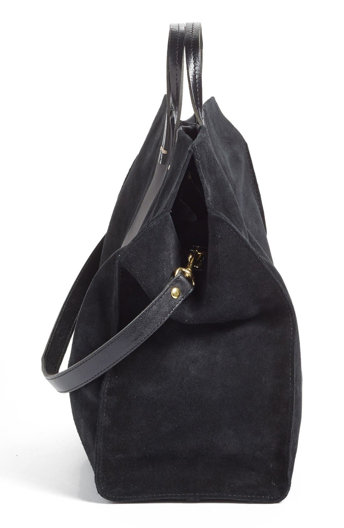 'Simple' Stripe Leather Tote,                             Alternate thumbnail 6, color,                             002