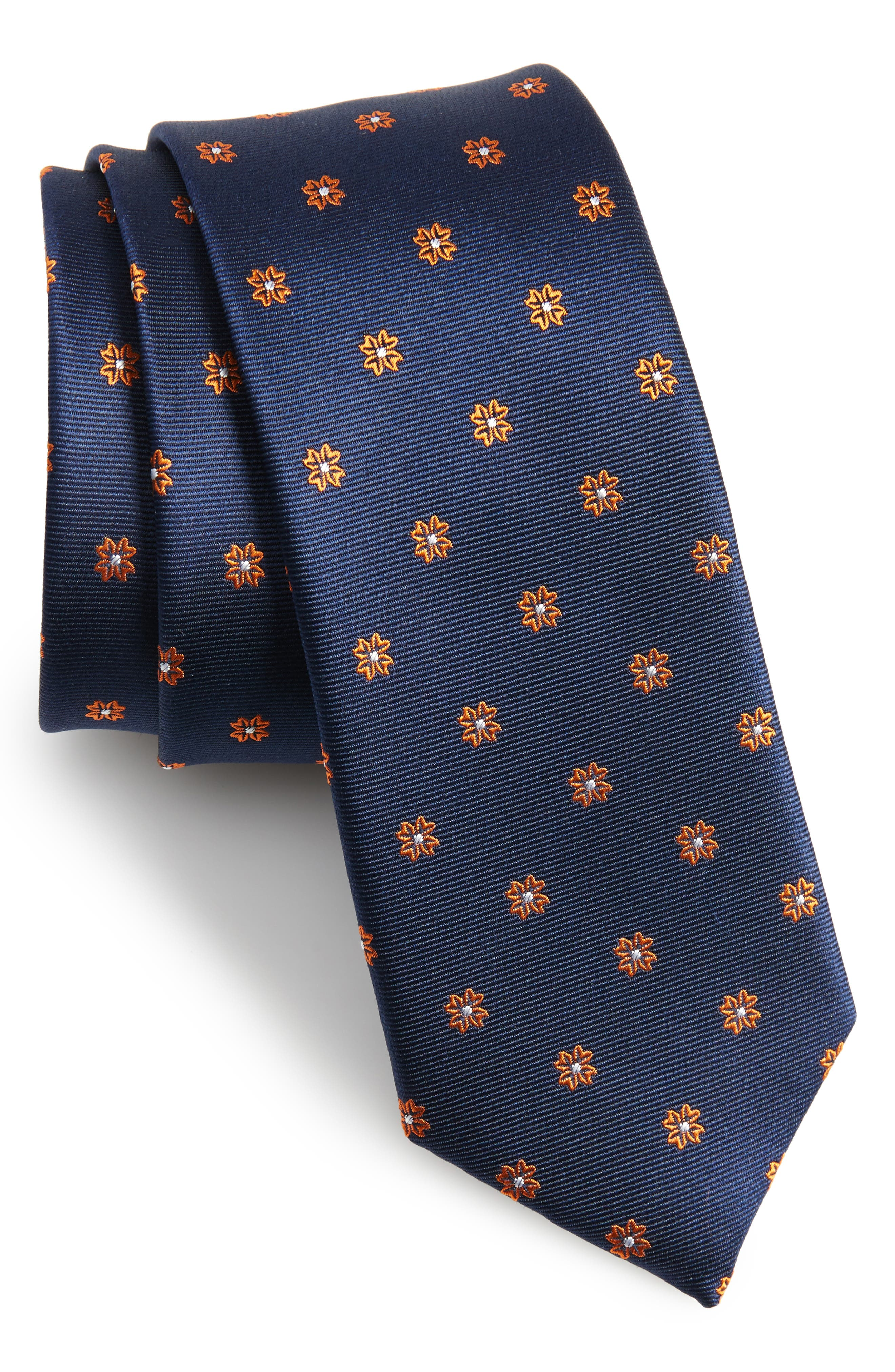 Primrose Flowers Silk Skinny Tie,                             Main thumbnail 2, color,