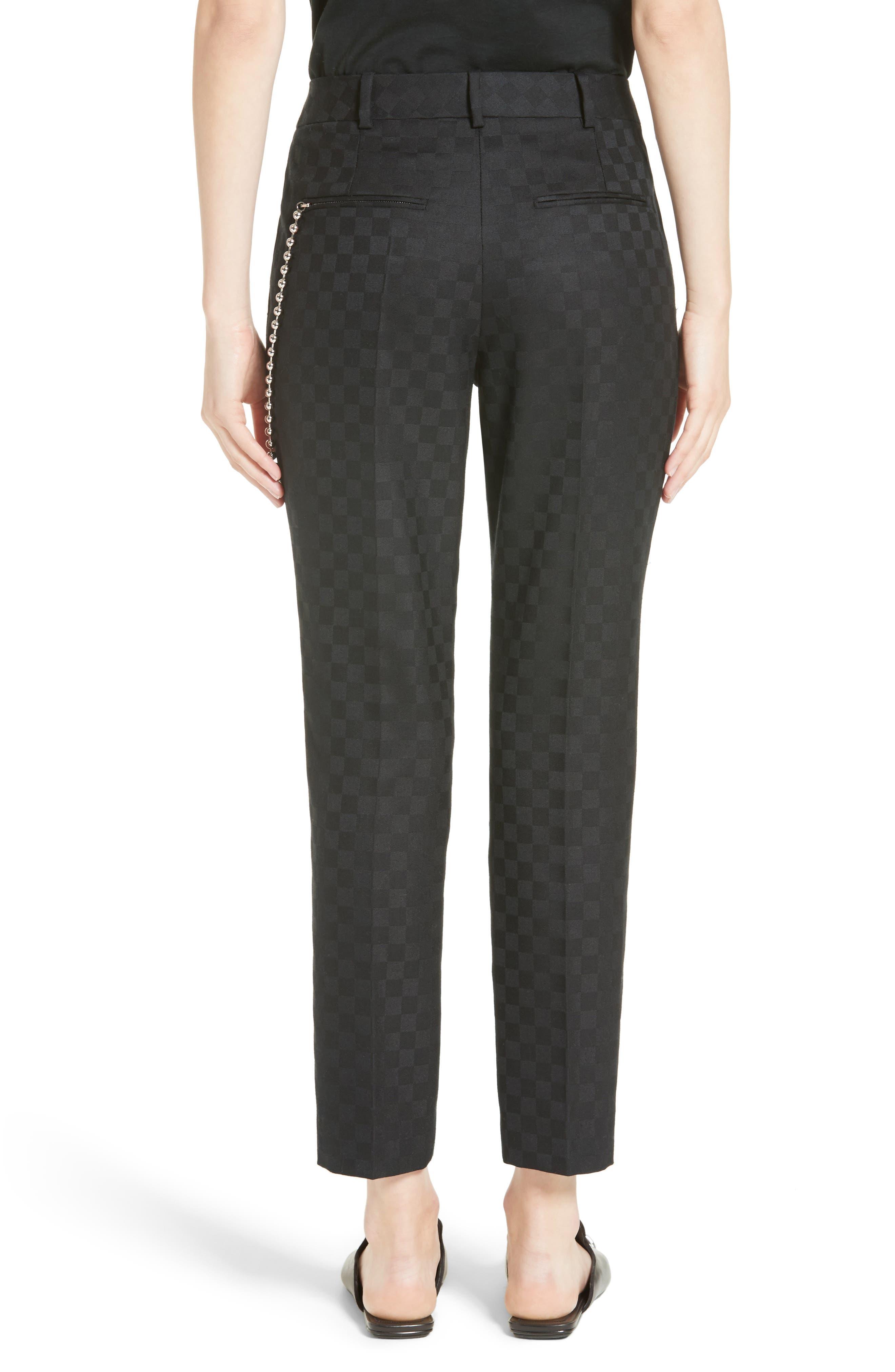 Chain Trim Checkerboard Pants,                             Alternate thumbnail 2, color,                             001
