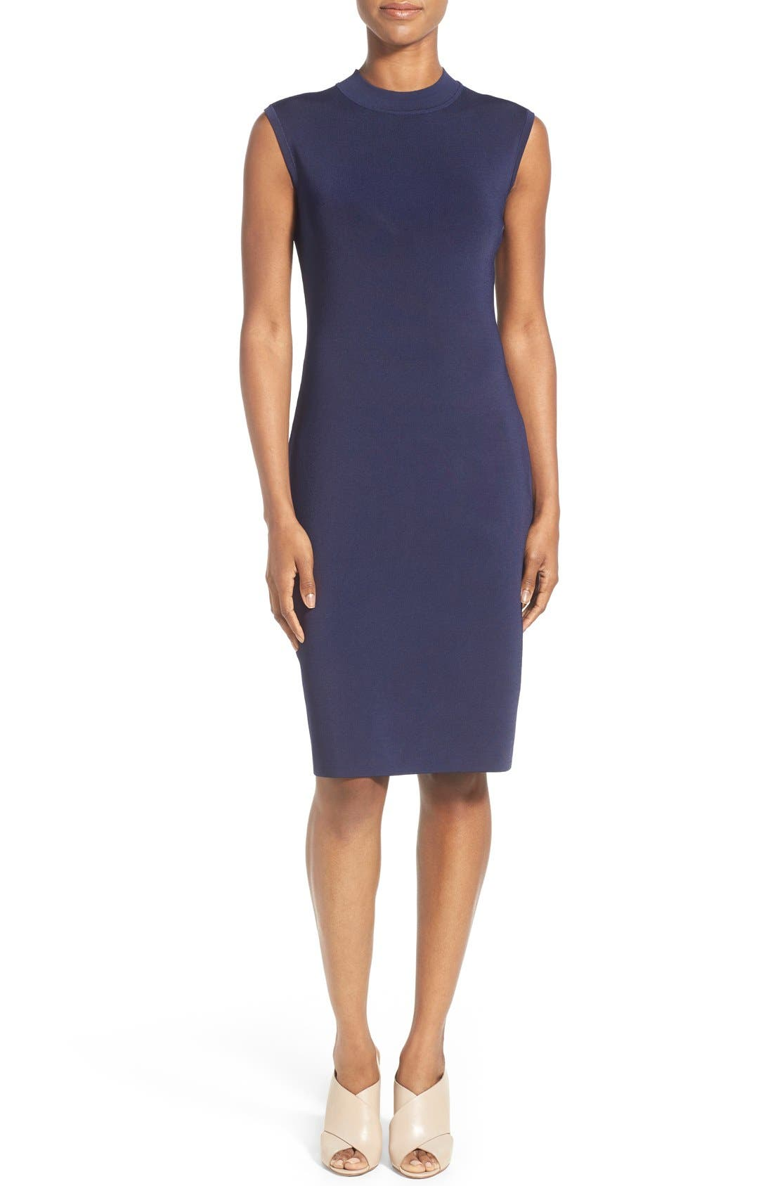 Sleeveless Mock Neck Knit Dress,                         Main,                         color,
