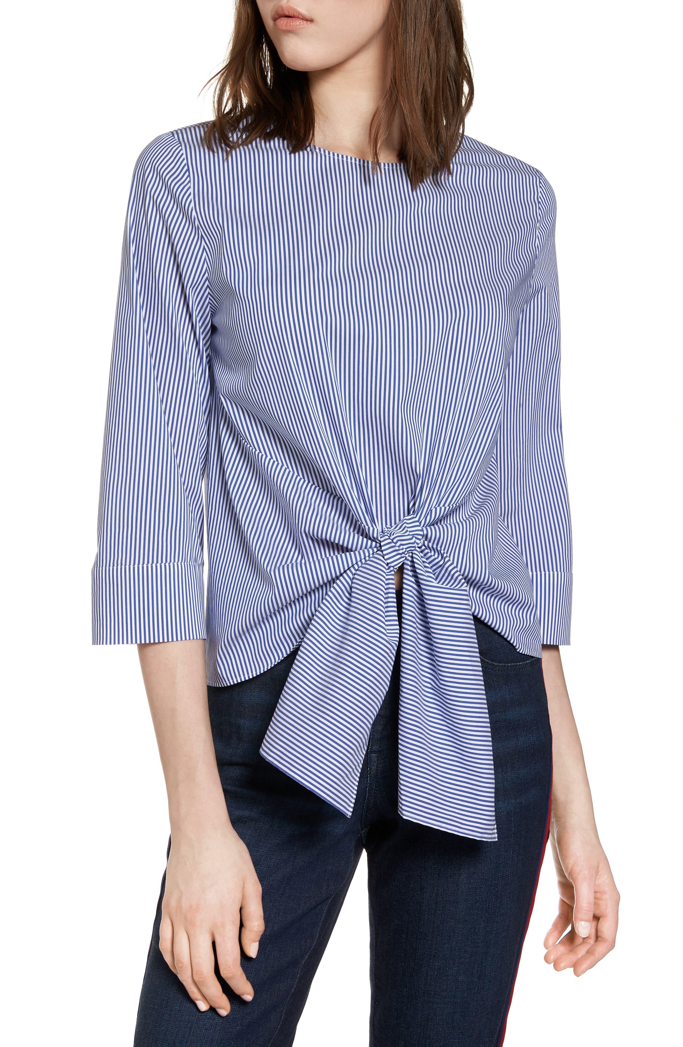 Tie Front Stripe Blouse,                         Main,                         color,