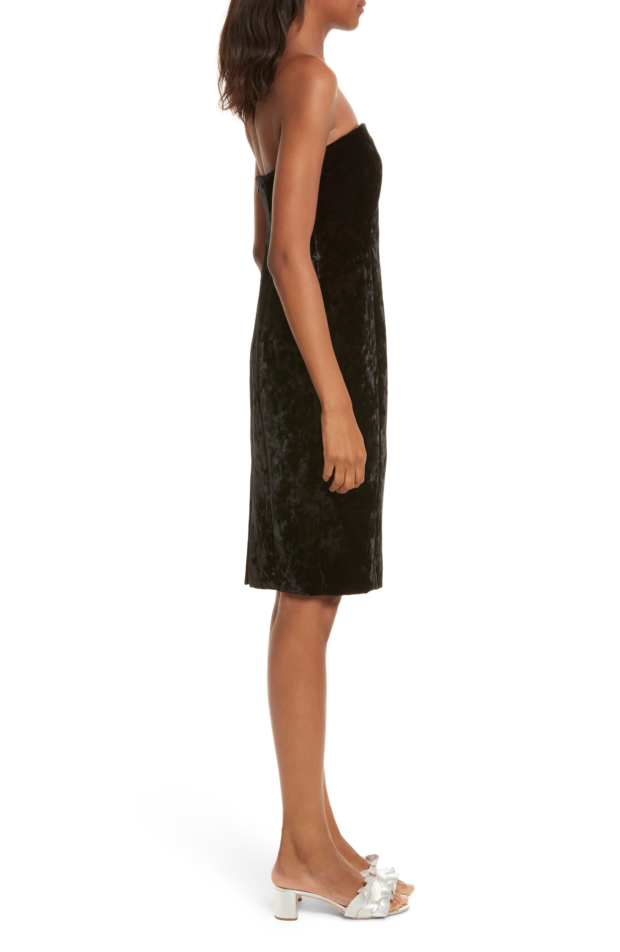 Strapless Velvet Dress,                             Alternate thumbnail 3, color,                             001