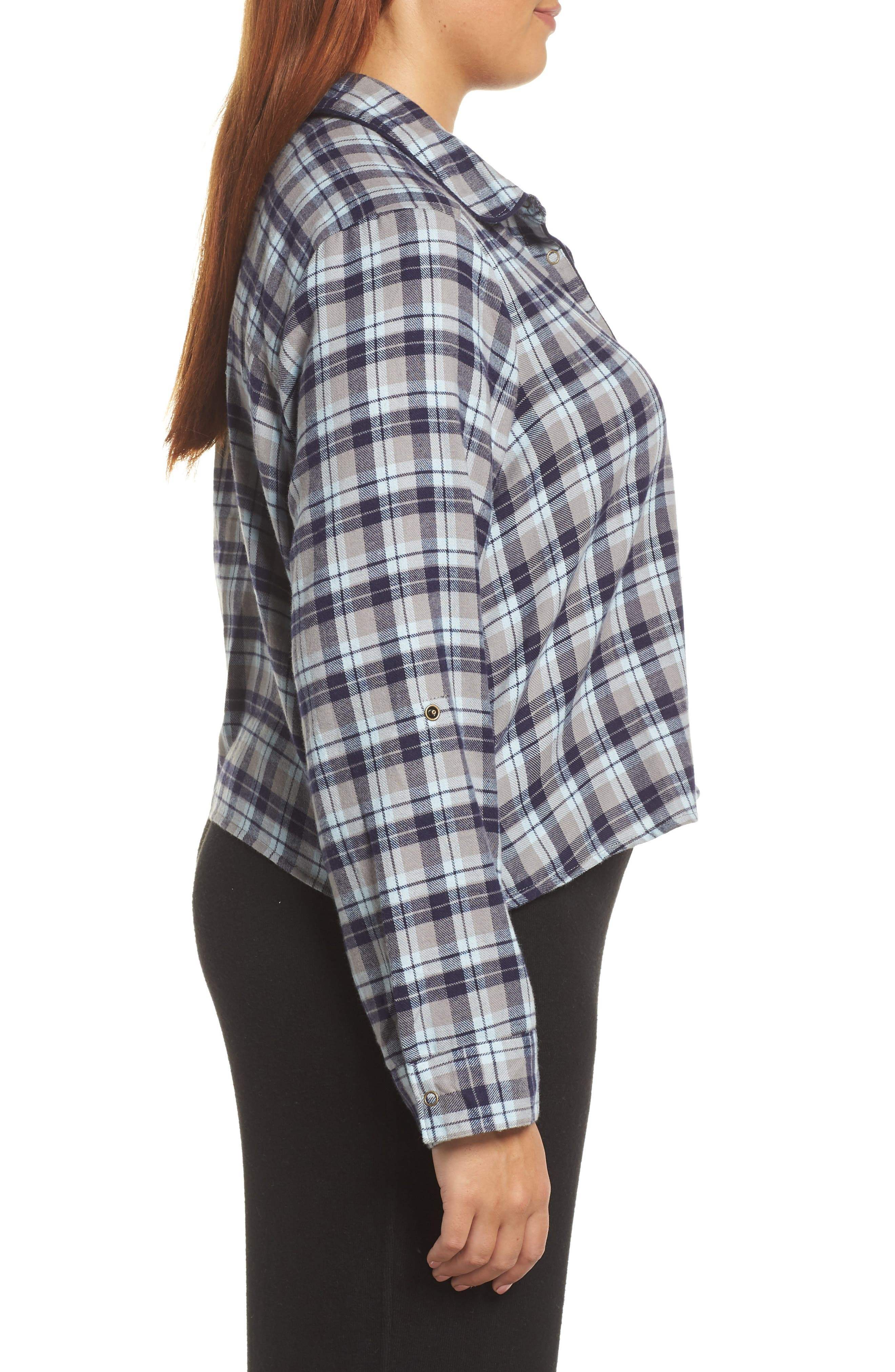 Crop Flannel Pajama Top,                             Alternate thumbnail 10, color,                             310