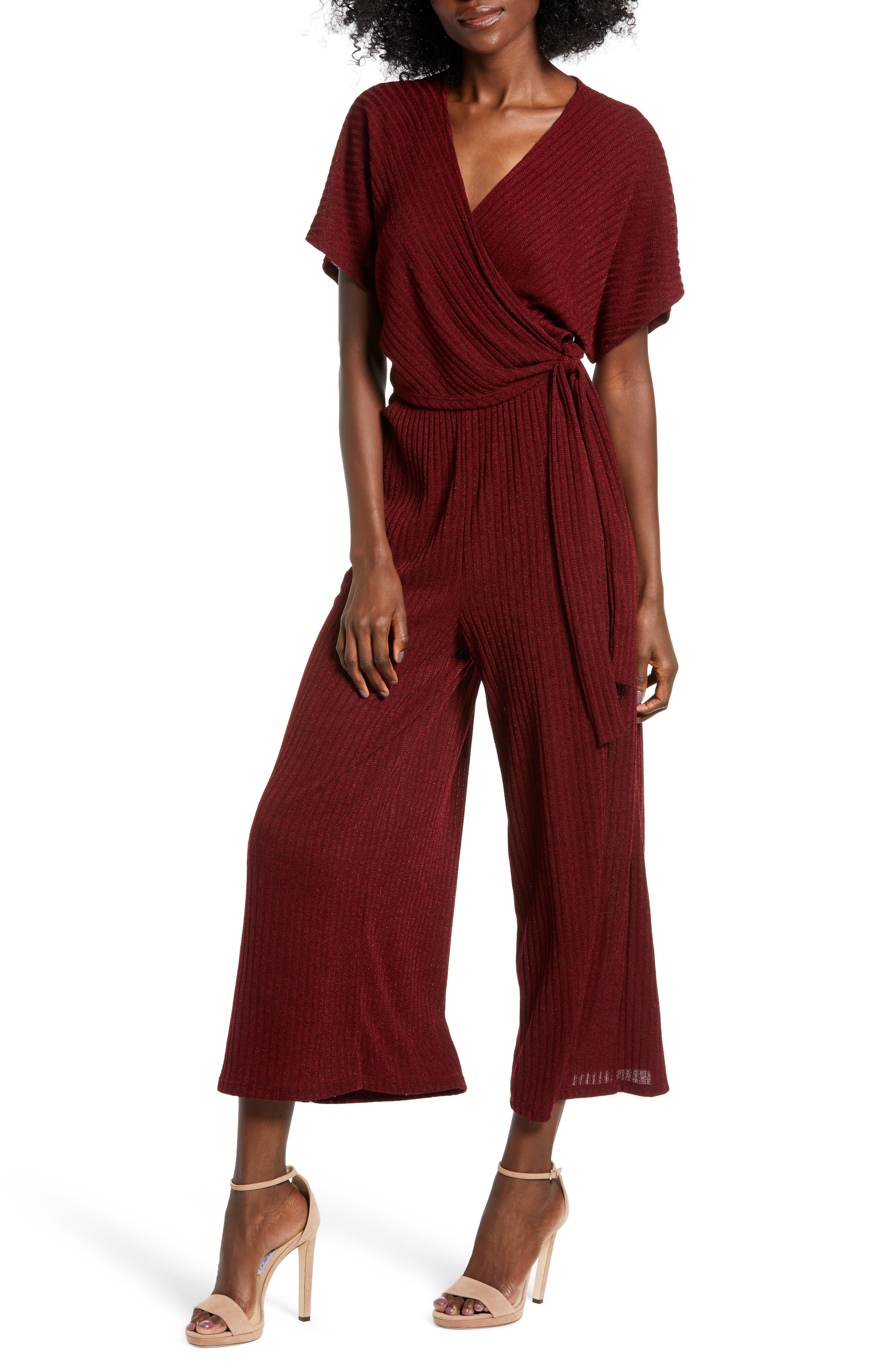 70s Jumpsuit | Disco Jumpsuits – Sequin, Striped, Gold, White, Black Womens All In Favor Wide Leg Wrap Front Jumpsuit Size Small - Burgundy $59.00 AT vintagedancer.com
