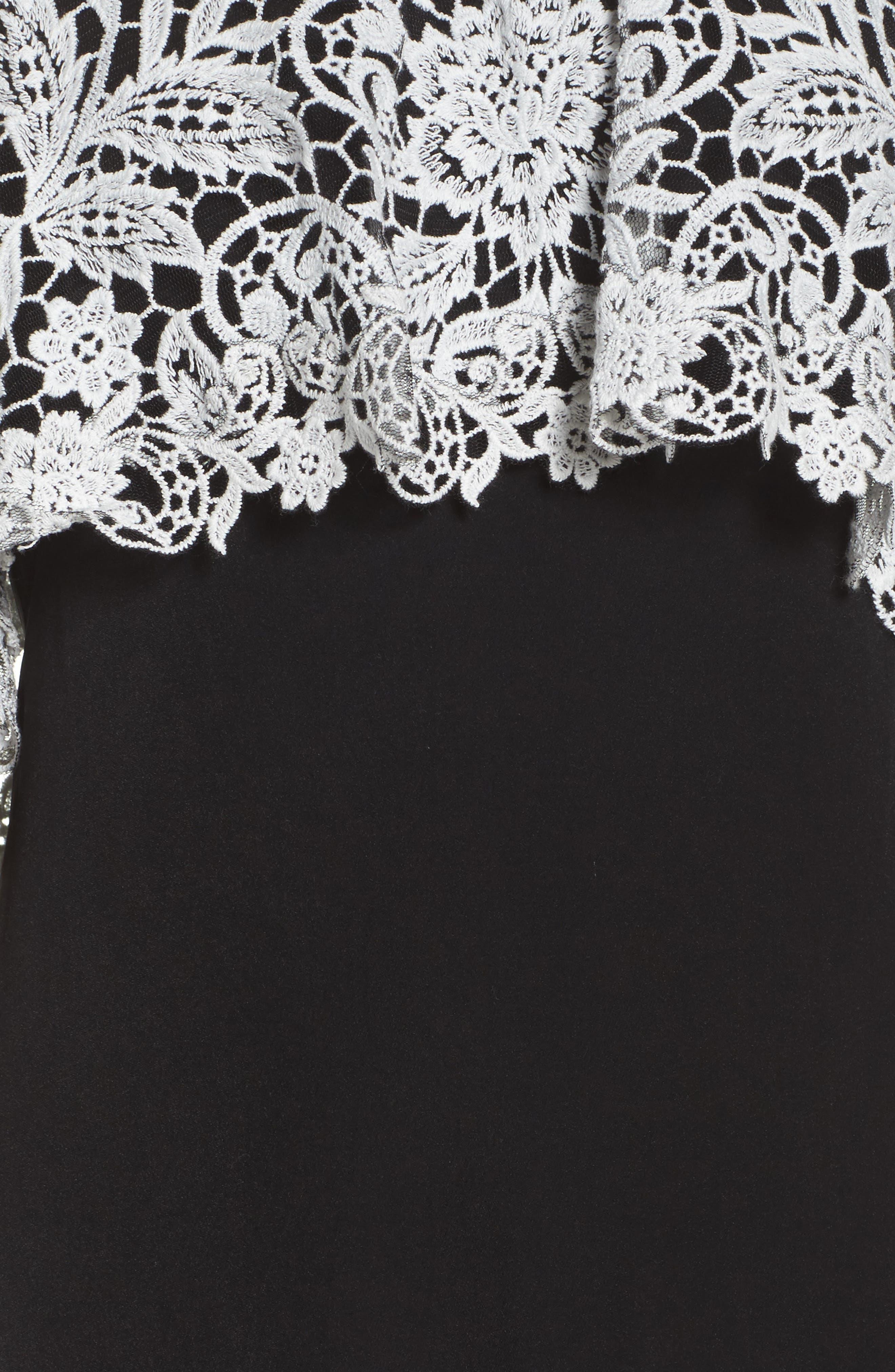 Illusion Neck Cape Gown,                             Alternate thumbnail 5, color,                             007