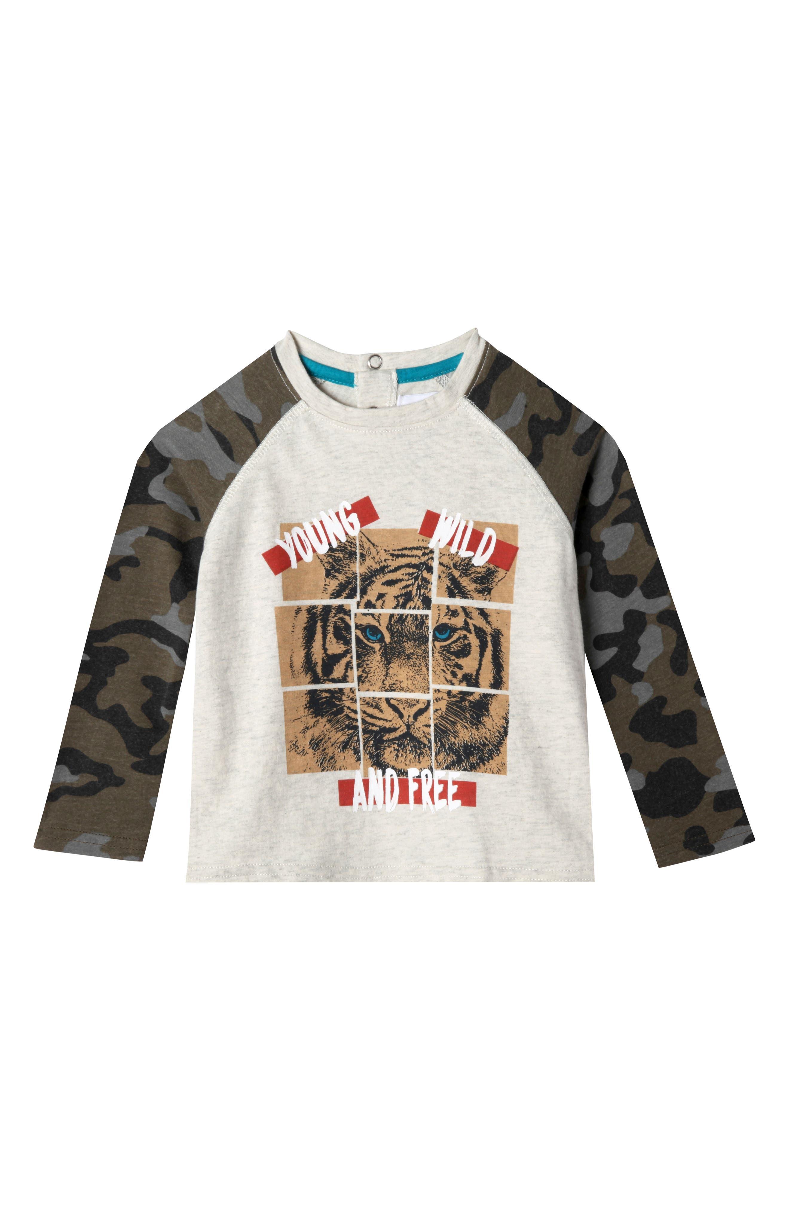 Mini Roar Organic Cotton Raglan T-Shirt,                             Main thumbnail 1, color,                             053