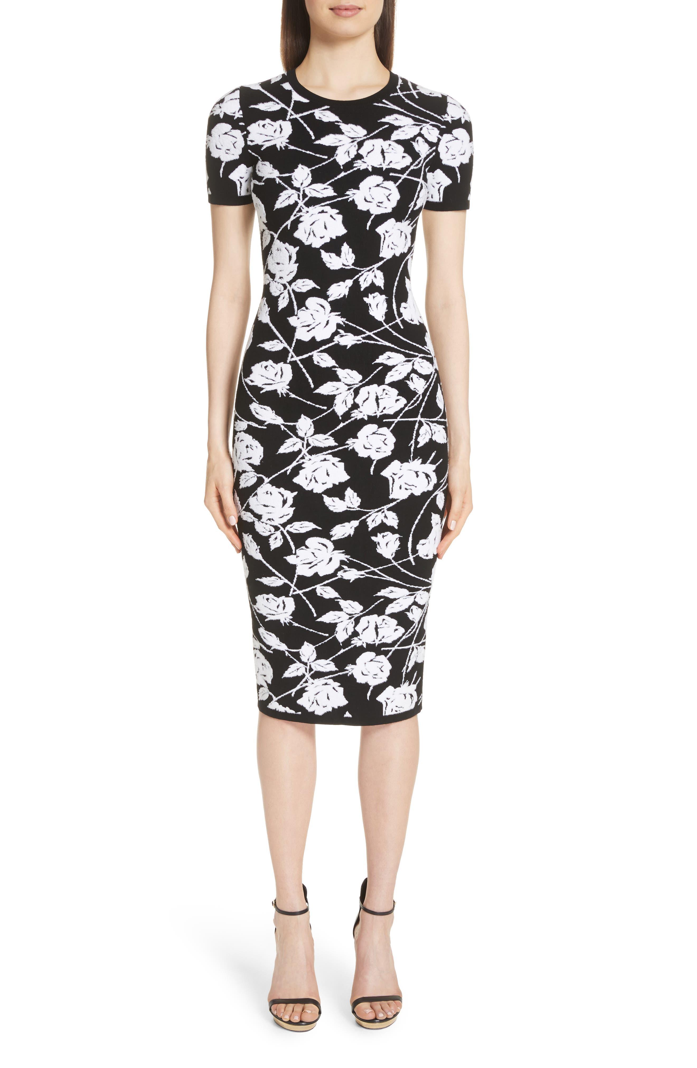 Stencil Rose Jacquard Dress,                             Main thumbnail 1, color,                             BLACK