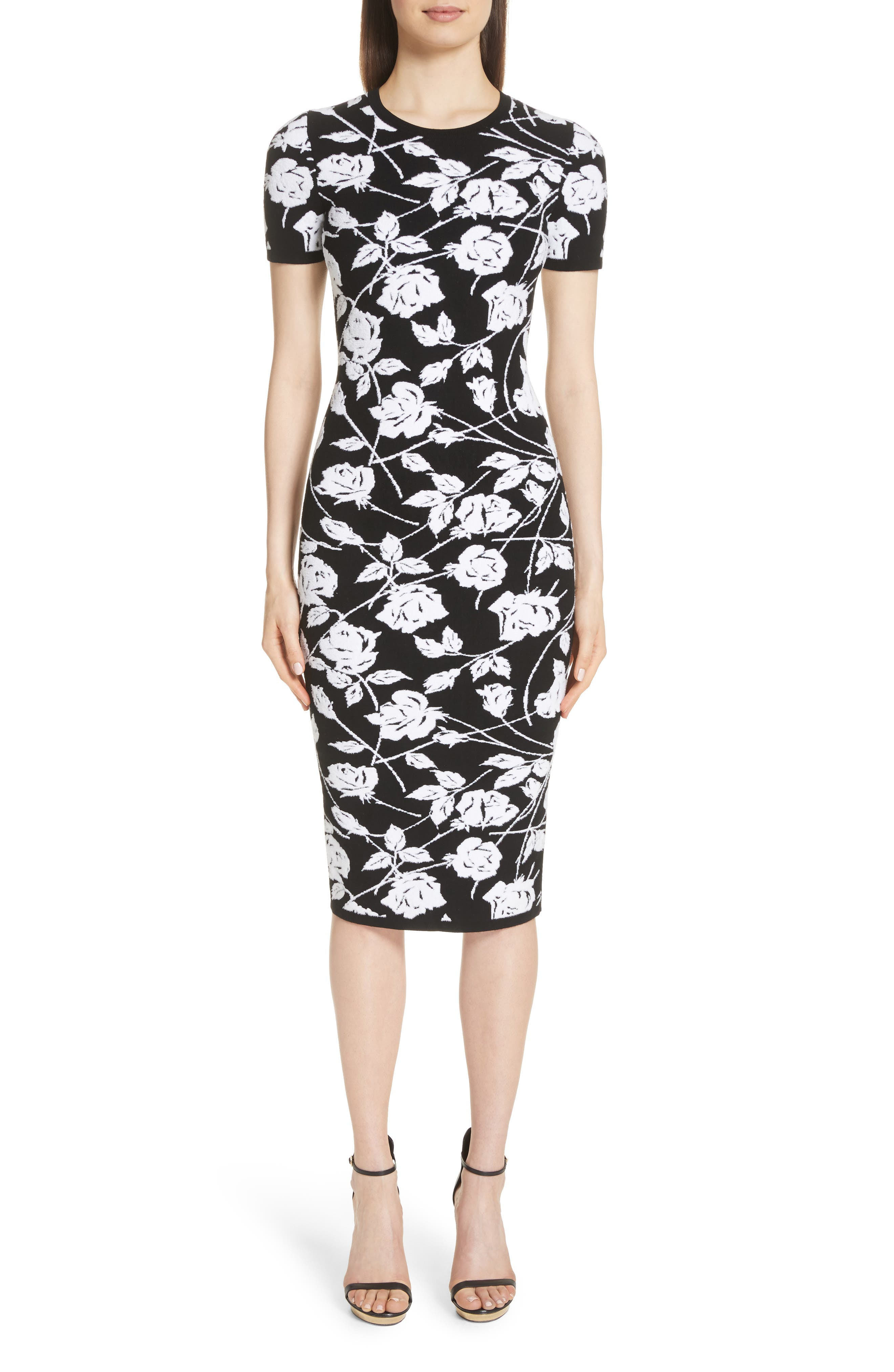 Stencil Rose Jacquard Dress,                         Main,                         color, BLACK