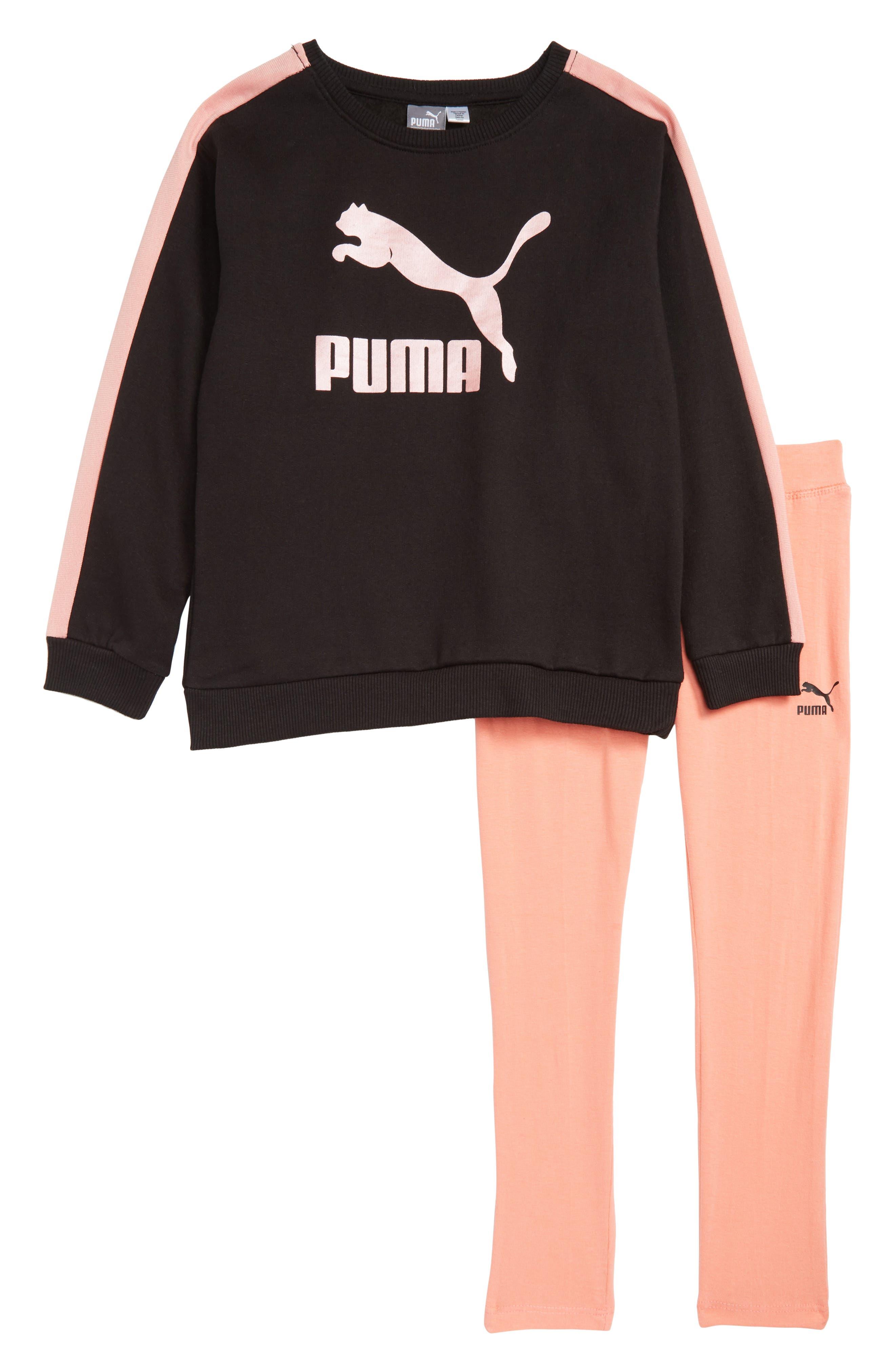 Girls Puma Logo Fleece Sweatshirt  Leggings Set